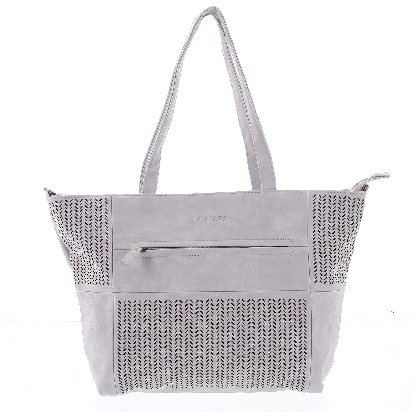 Elegantní perforovaná dámská kabelka přes rameno světle šedá - Beagles Lema