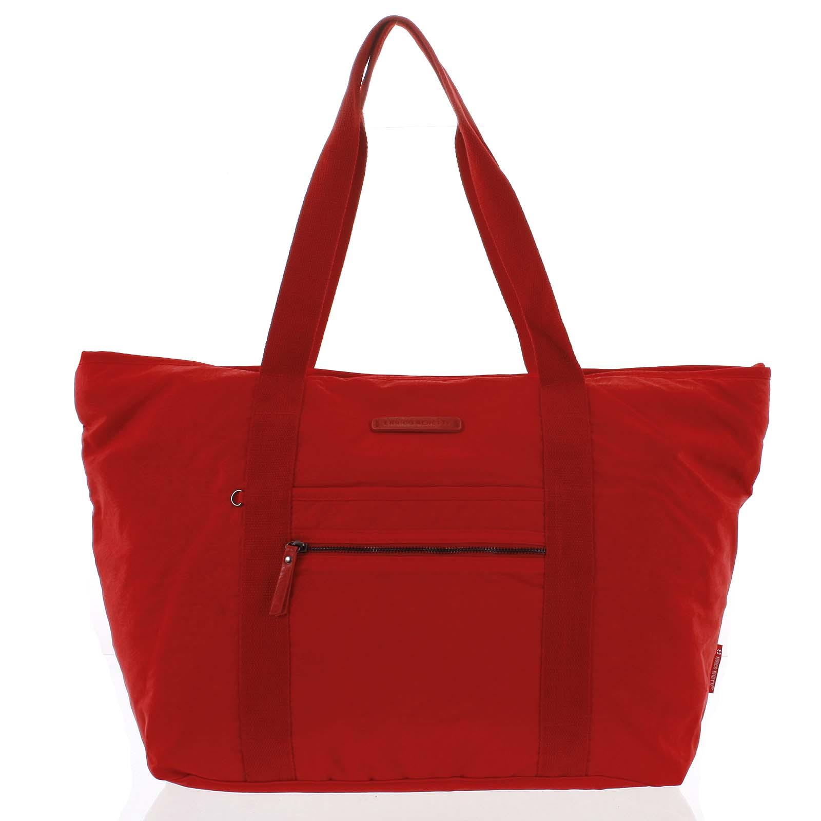 Velká dámská cestovní taška přes rameno červená - Enrico Benetti Mariam