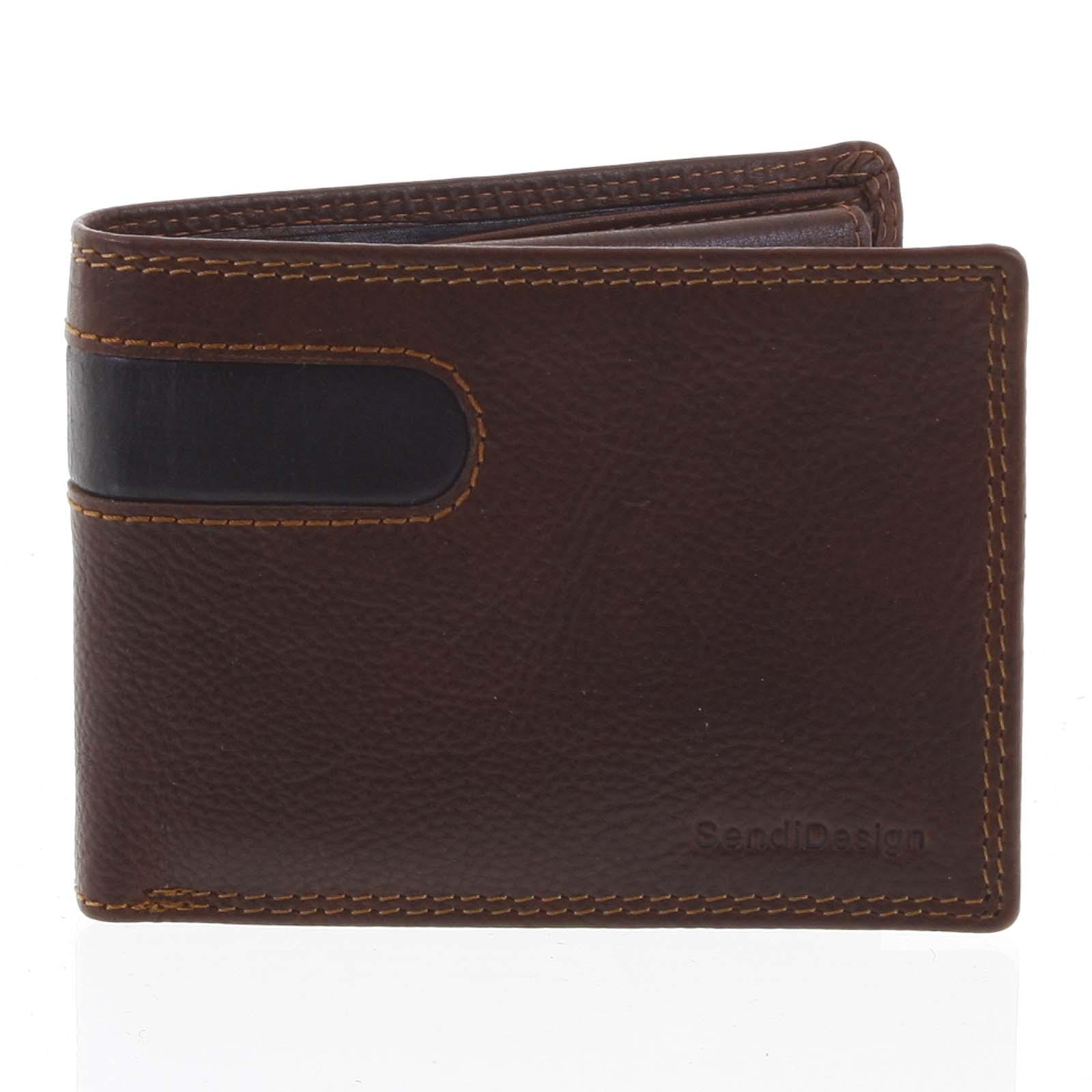 Pánská kožená peněženka tenká hnědá - SendiDesign Elohi