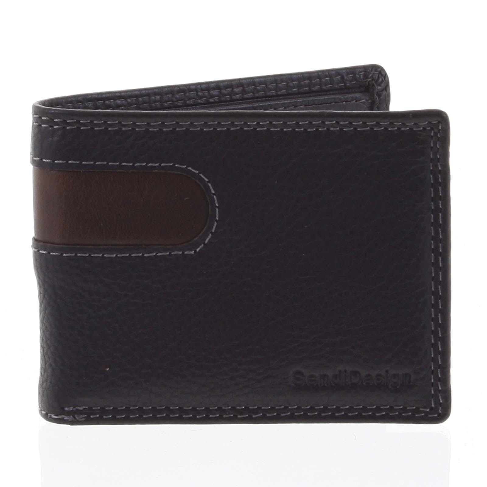 Pánská kožená peněženka na karty černá - SendiDesign Sinai