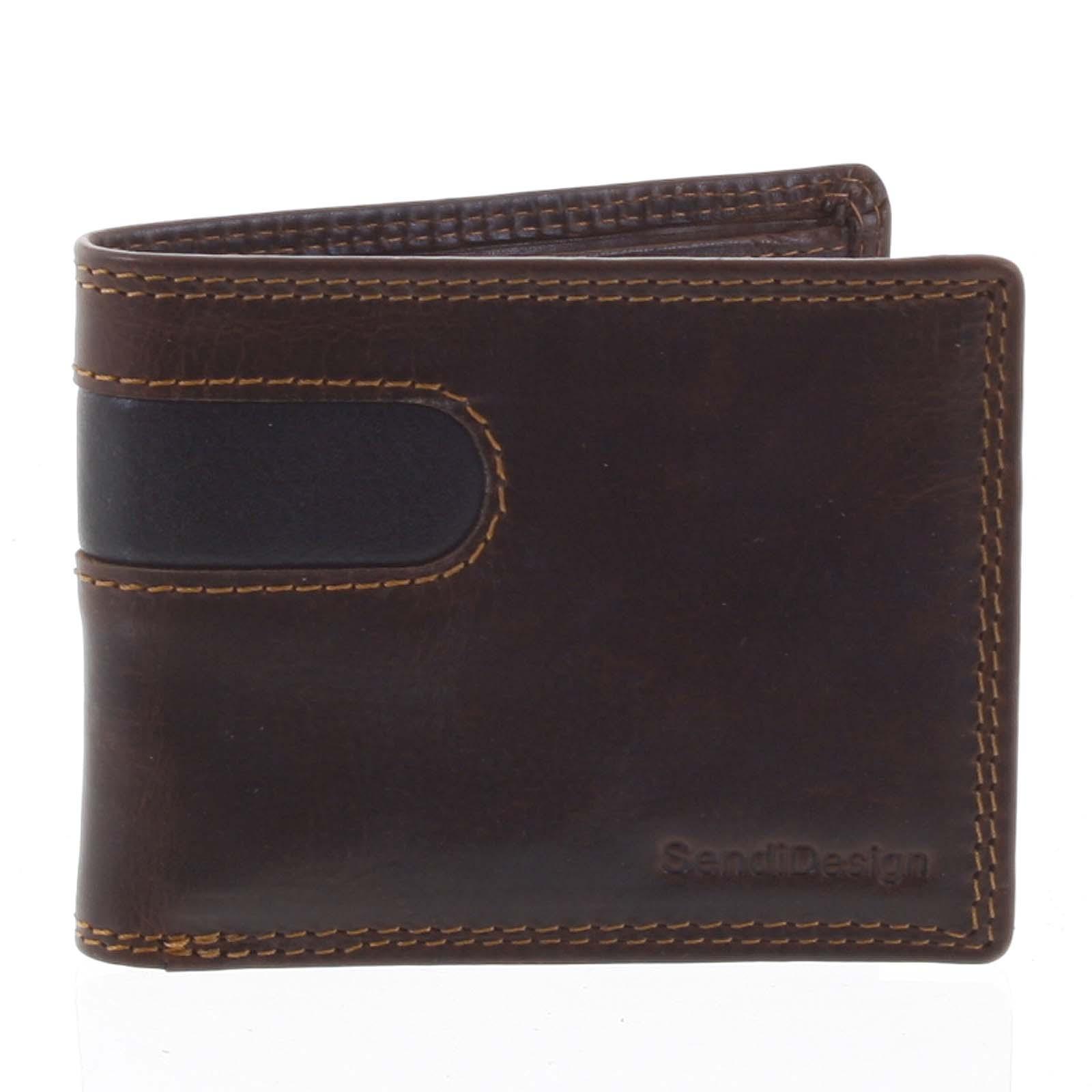 Pánská kožená peněženka na karty hnědá - SendiDesign Sinai