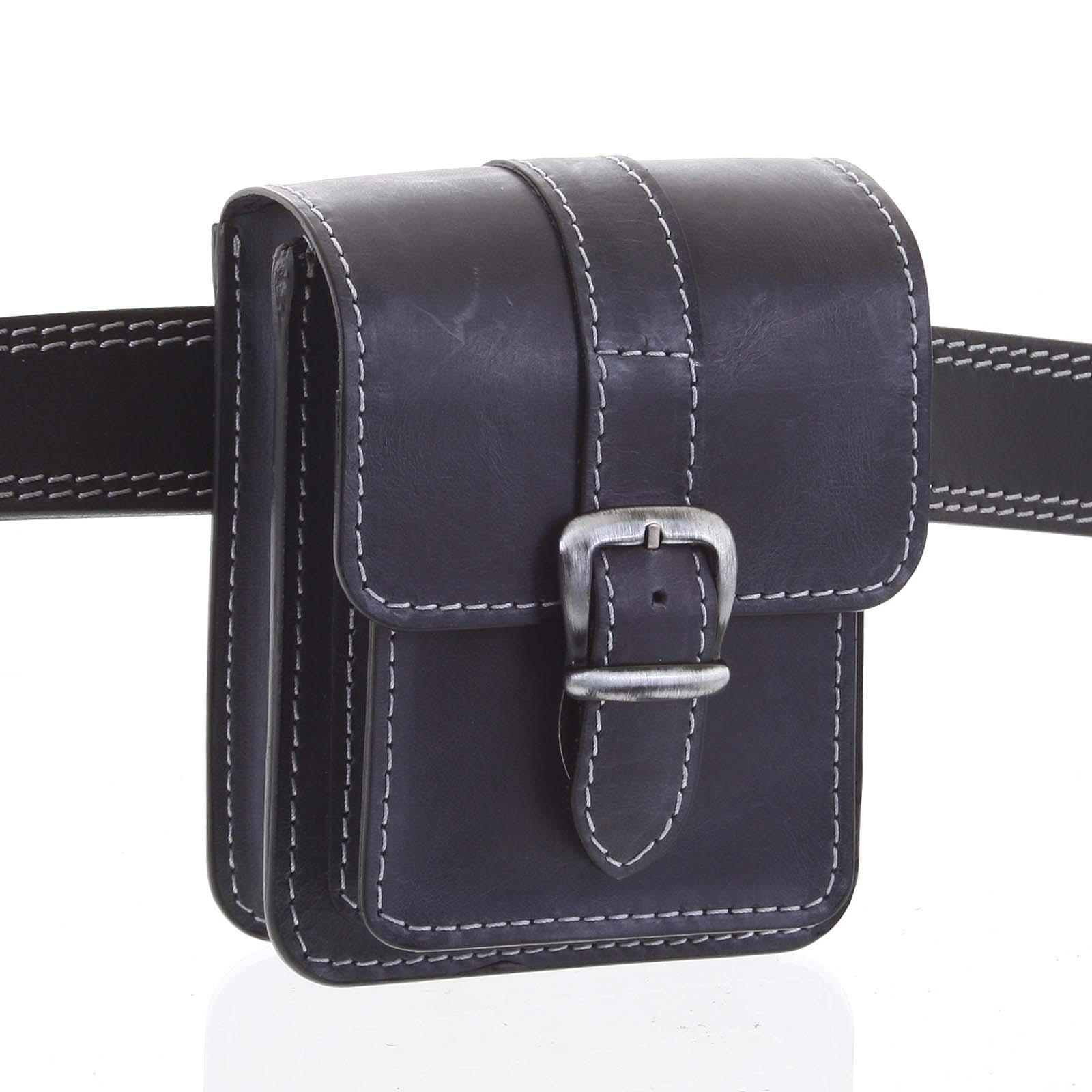Pánská kožená kapsa na opasek černo modrá - Kabea Kisi 2