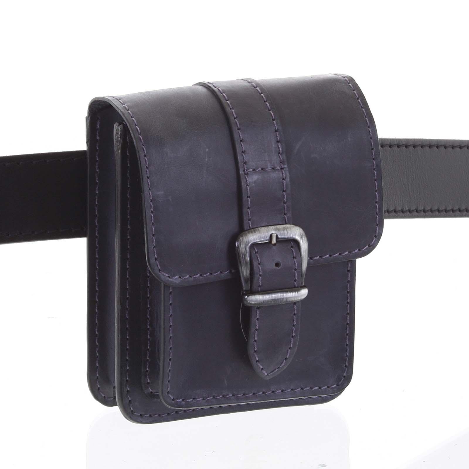 Pánská kožená kapsa na opasek černo modrá - Kabea Kisi