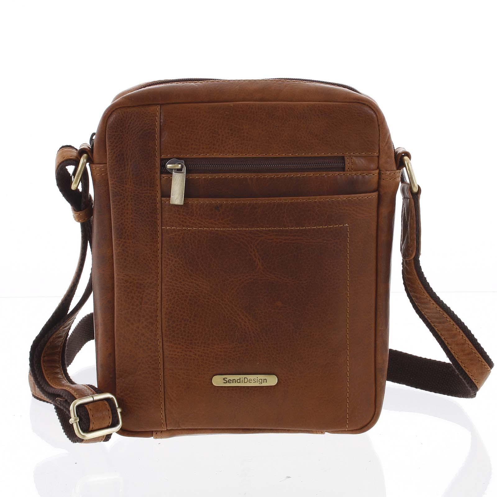 Perfektní pánská světle hnědá kožená taška - Sendi Design Halir