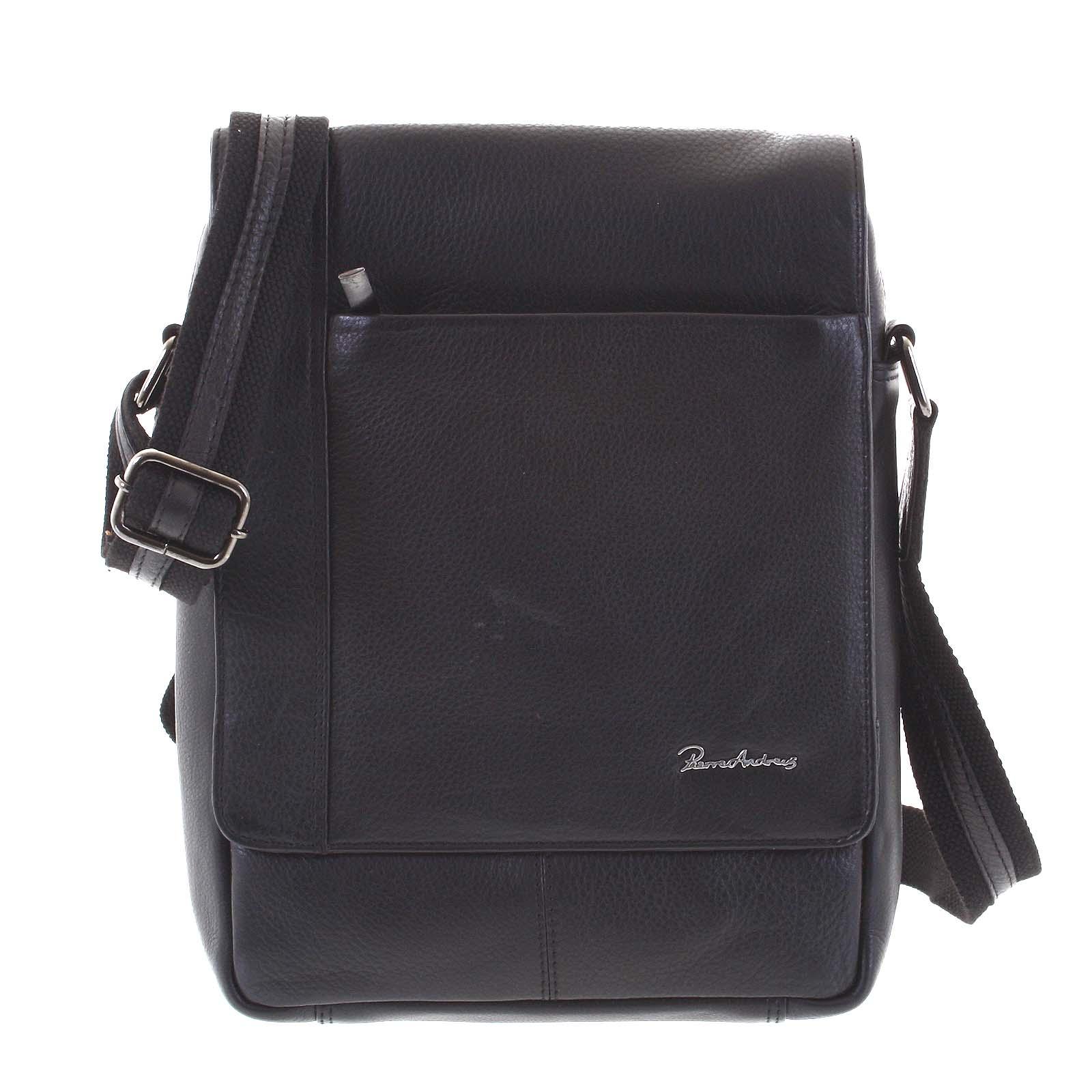 Černá střední pánská kožená taška - Pierre Andreus Amoro