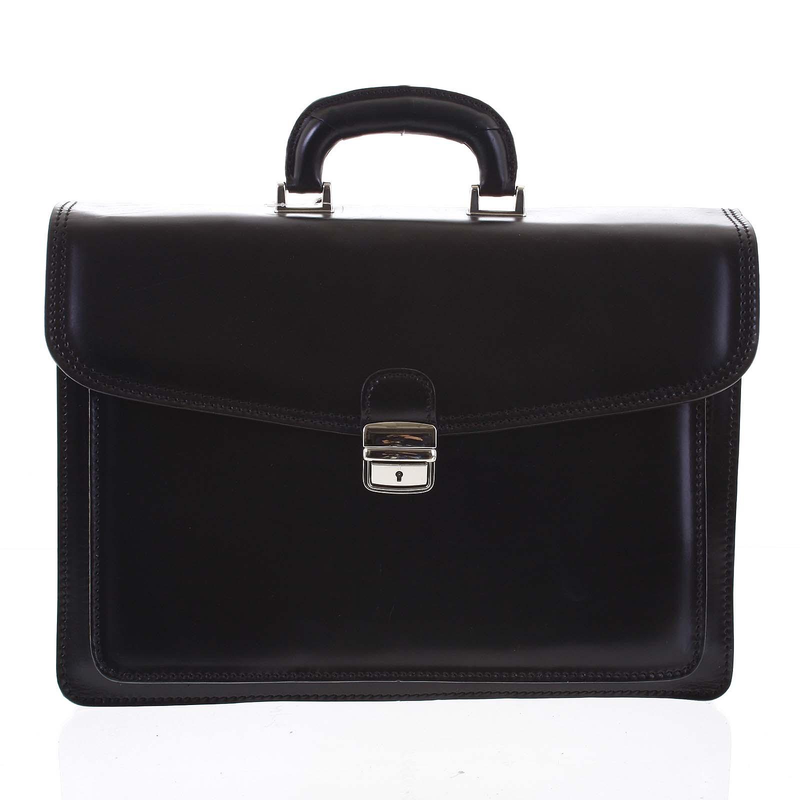 Jemná pánská kožená aktovka černá - ItalY K17 EX