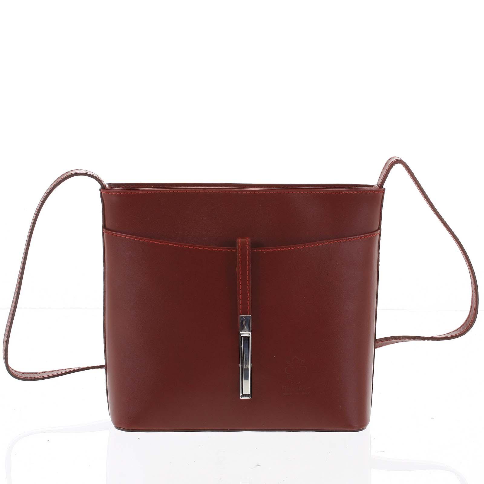 Dámská kožená crossbody kabelka červená - ItalY Aneta