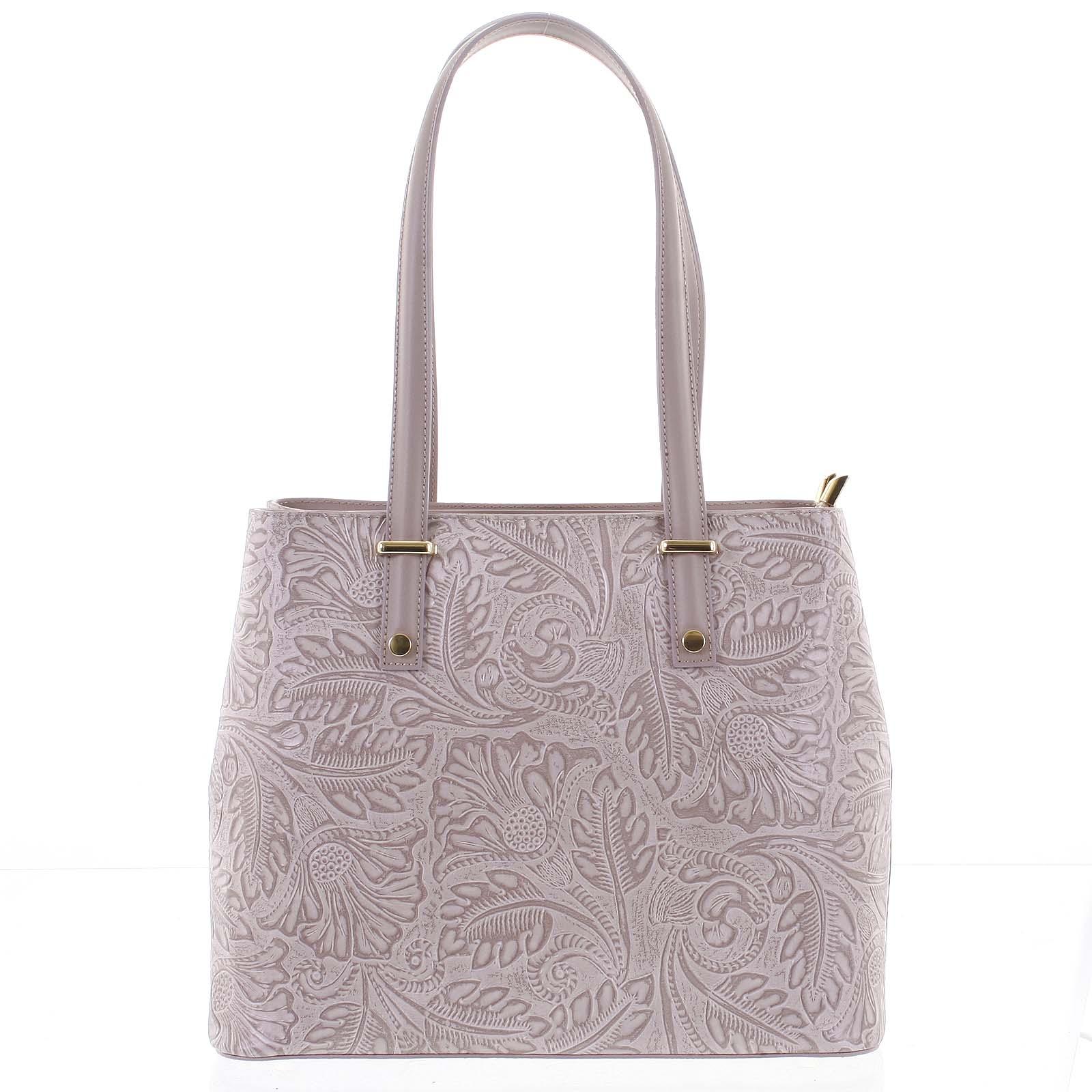 Exkluzivní dámská kožená kabelka fialovo růžová - ItalY Logistilla