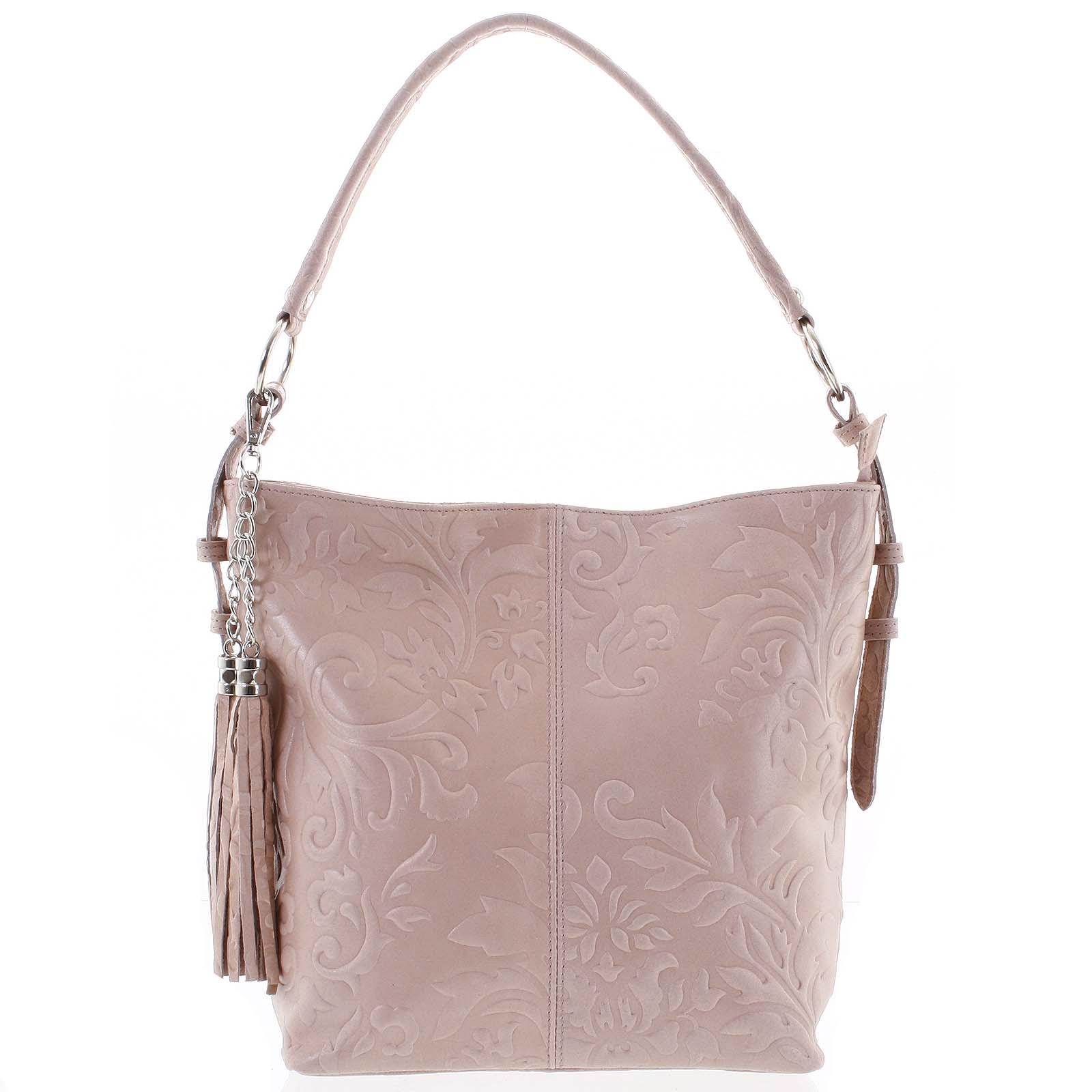 Dámská kožená kabelka přes rameno růžová - ItalY Heather