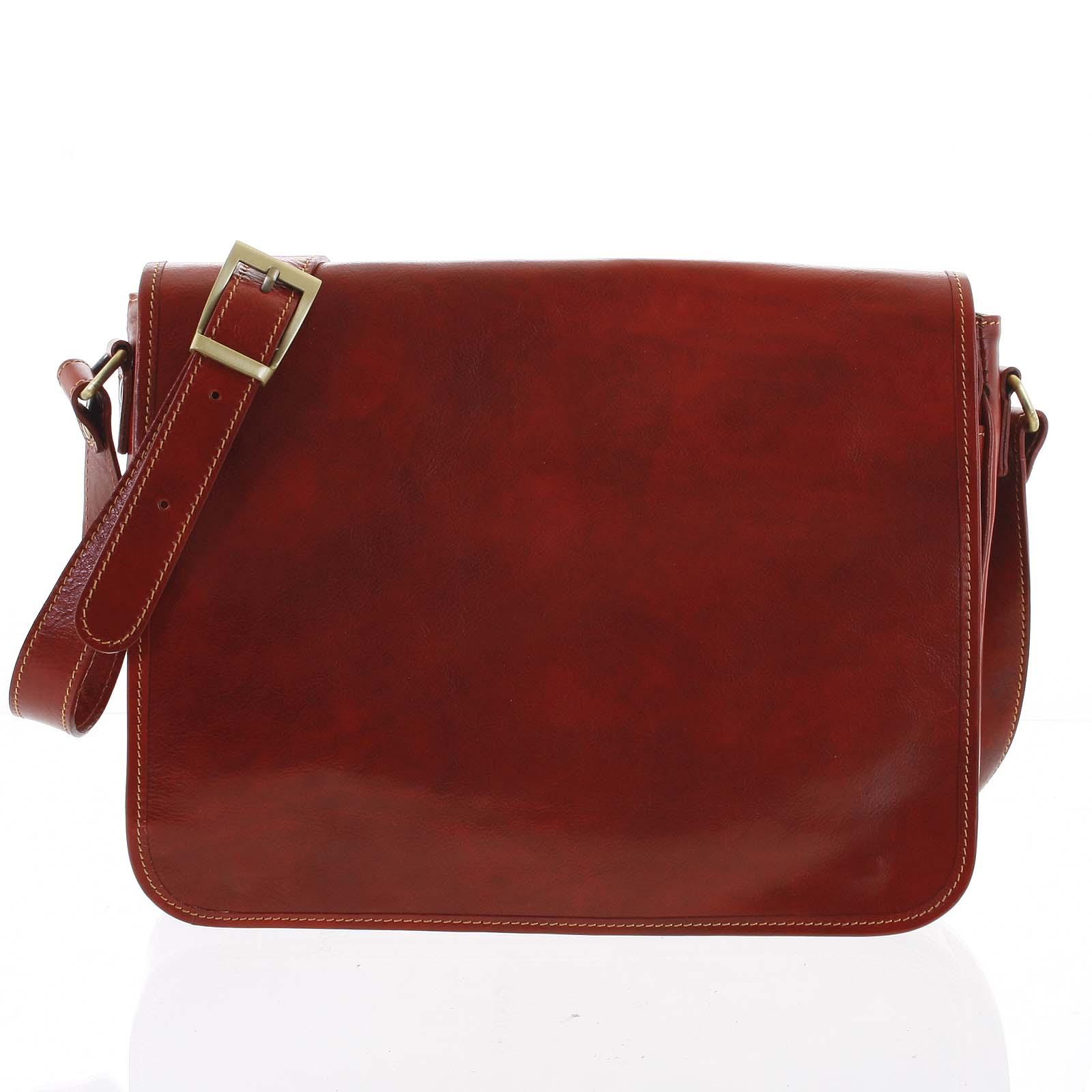 Větší pracovní kožená taška červená - ItalY Equado Achilles