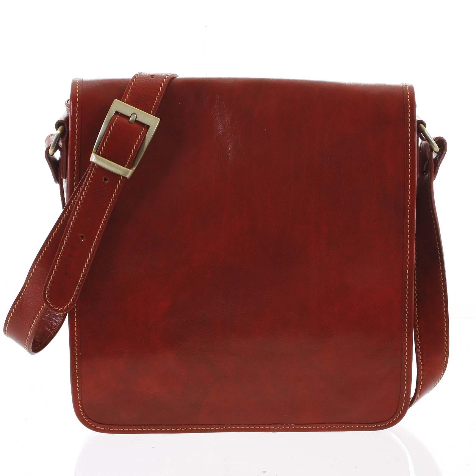 Pánská luxusní kožená taška přes rameno červená - ItalY Jamar