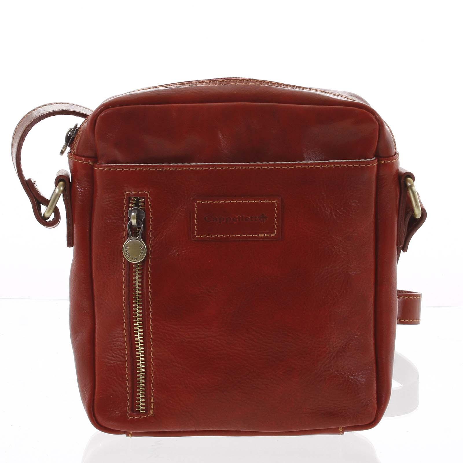 Kvalitní červená kožená pánská taška přes rameno - ItalY Sollis