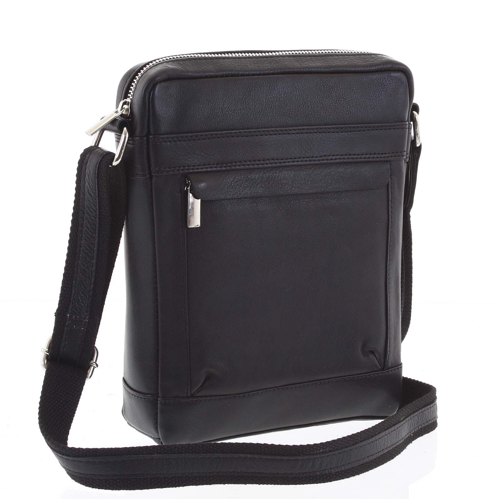Střední pánská kožená taška na doklady černá - WILD Akane