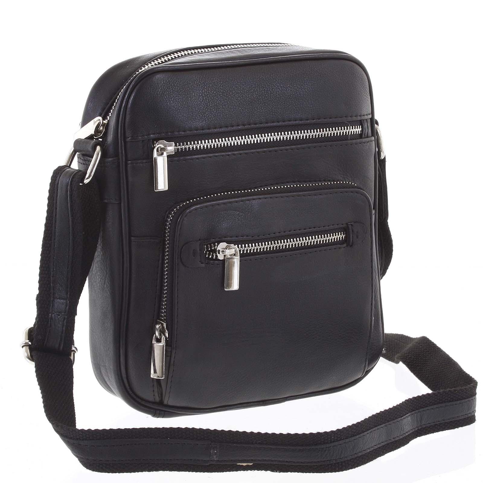 Módní pánská crossbody kožená taška na doklady černá - WILD Andric