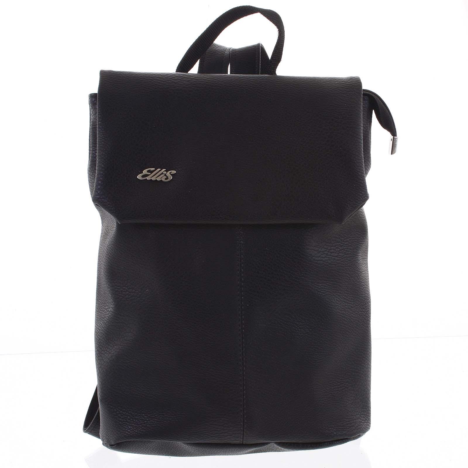 Větší měkký dámský moderní černý batoh - Ellis Elizabeth JR