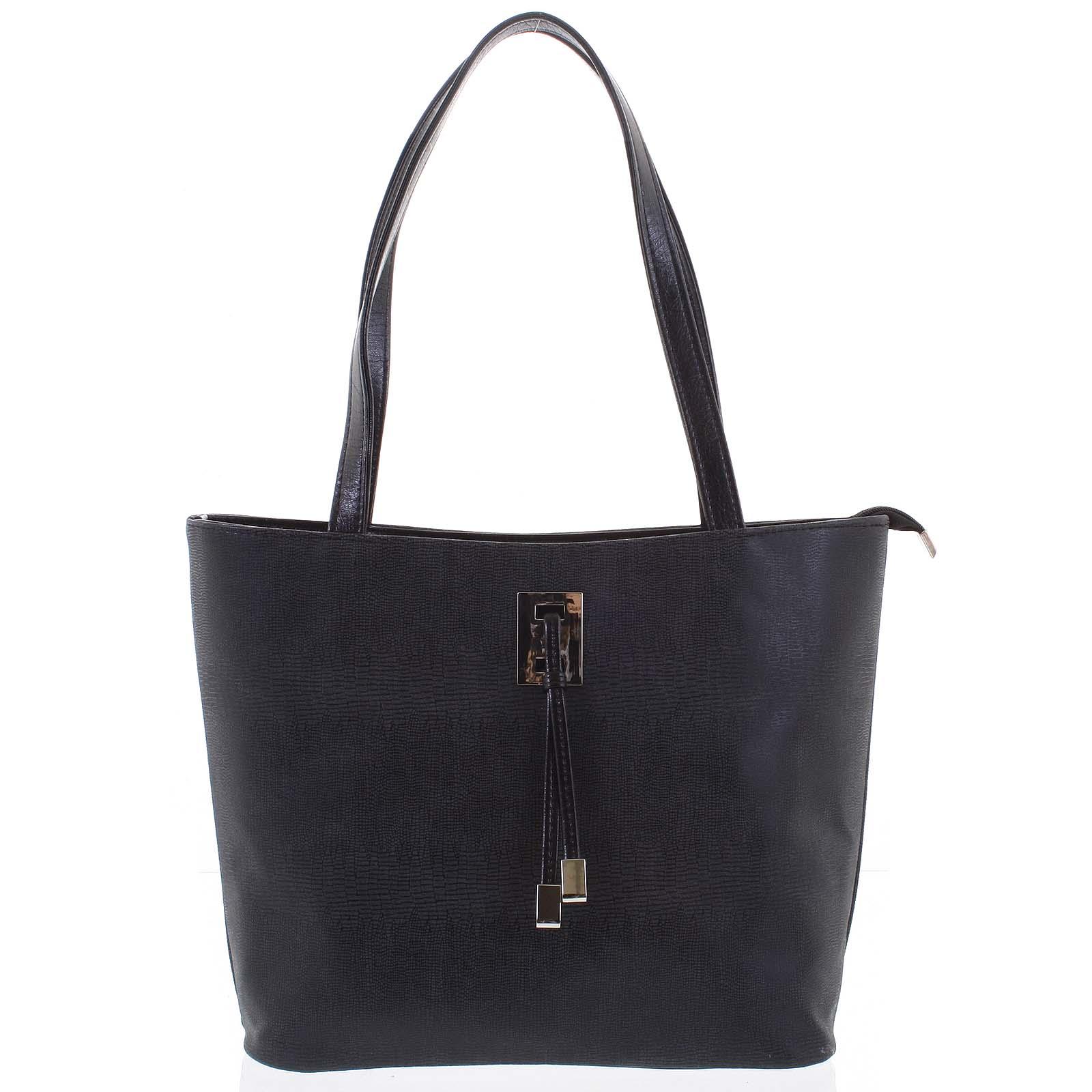 Velká černá vzorovaná dámská kabelka přes rameno - Ellis Huyen