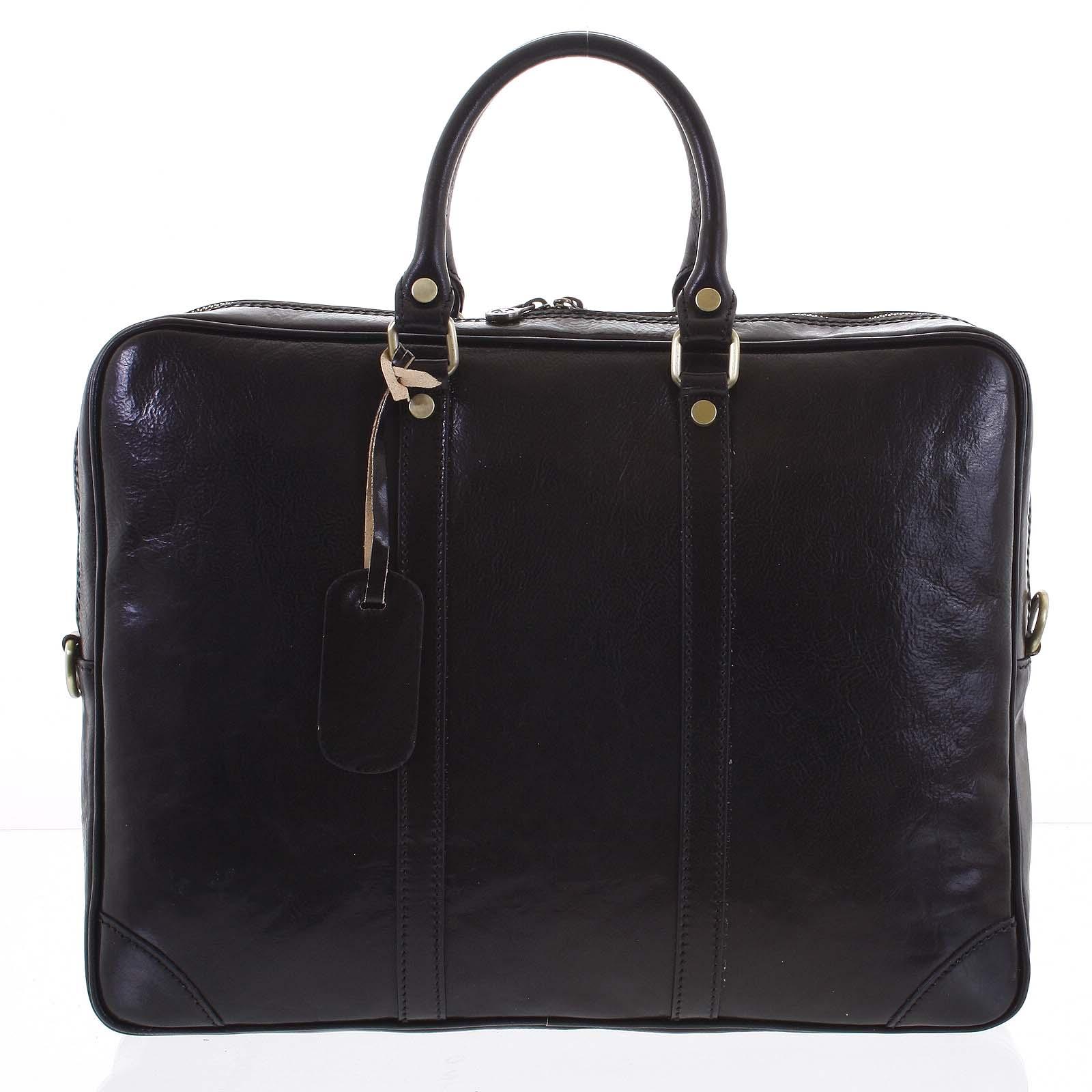 Kožená business taška černá - ItalY Paolo