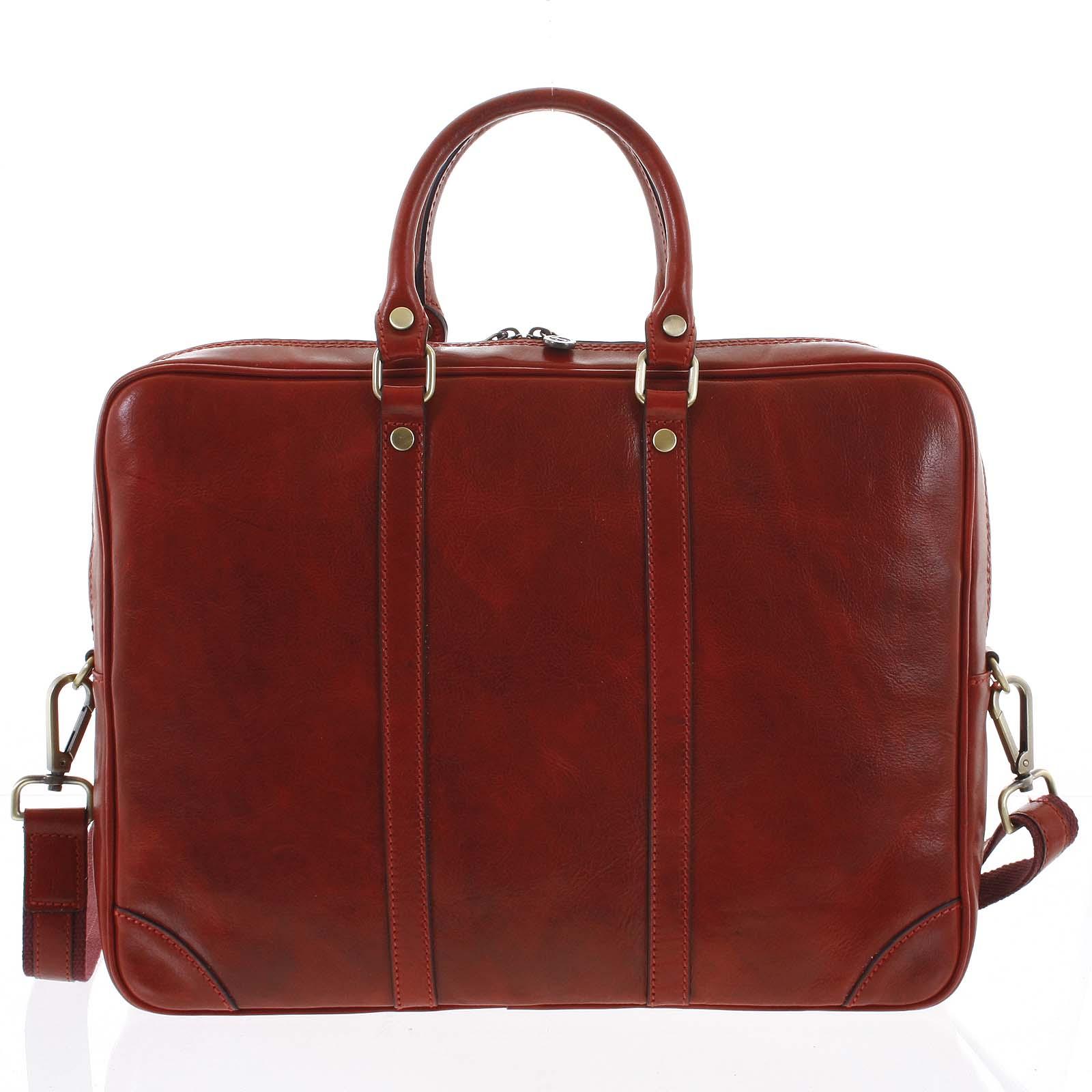 Kožená business taška červená - ItalY Paolo