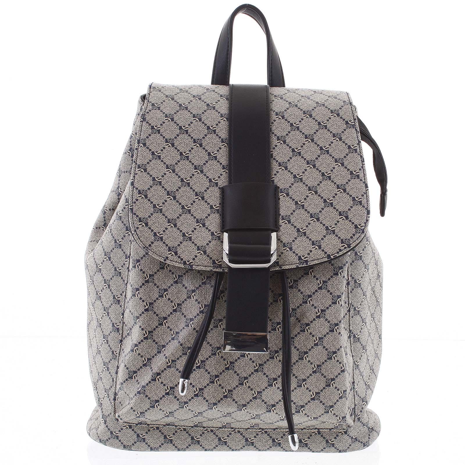 Luxusní střední dámský batoh modro černý - Silvia Rosa Kevin