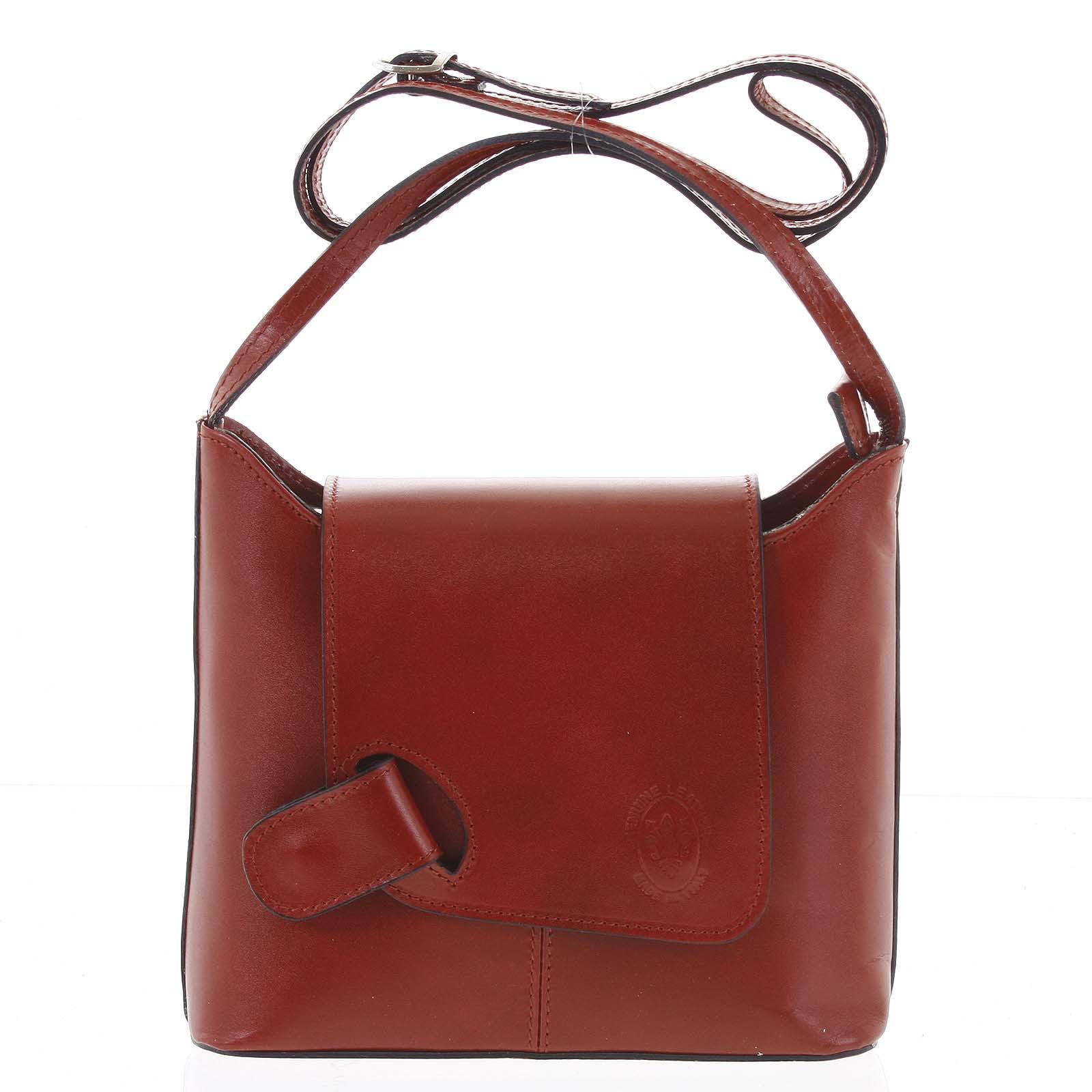 Dámská kožená crossbody kabelka červená - ItalY Misty Dark