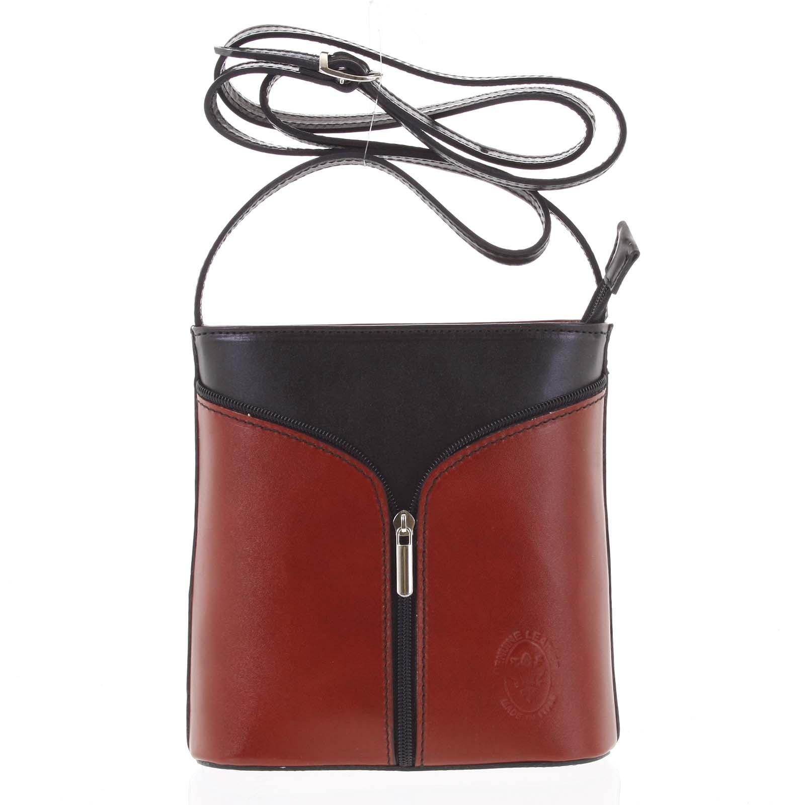 Dámská kožená crossbody kabelka červeno černá - ItalY Hallie