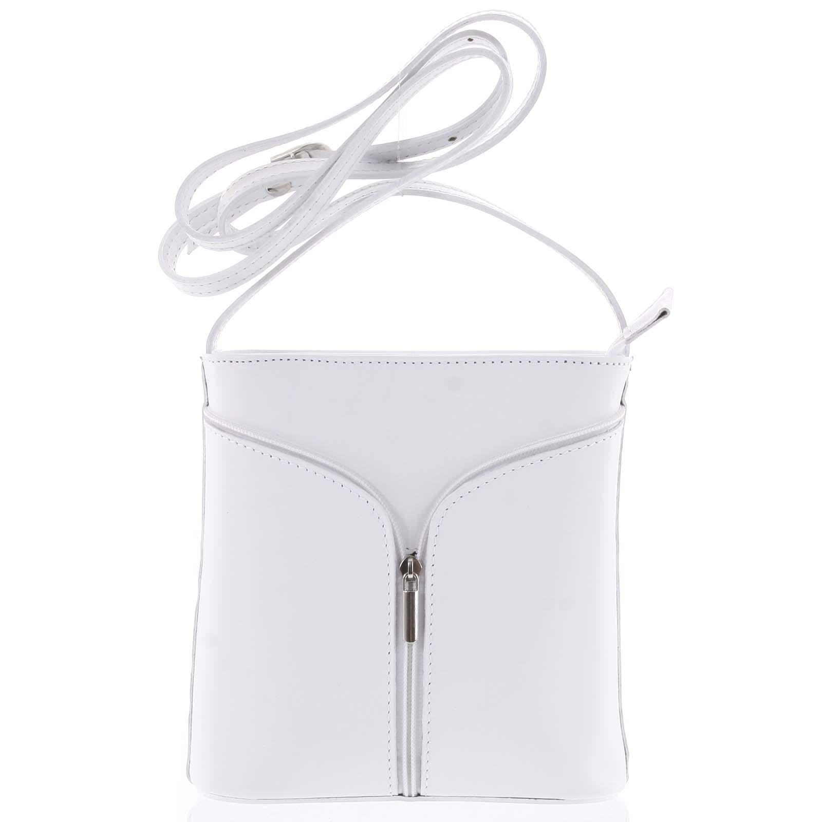 Dámská kožená crossbody kabelka bílá - ItalY Hallie Light