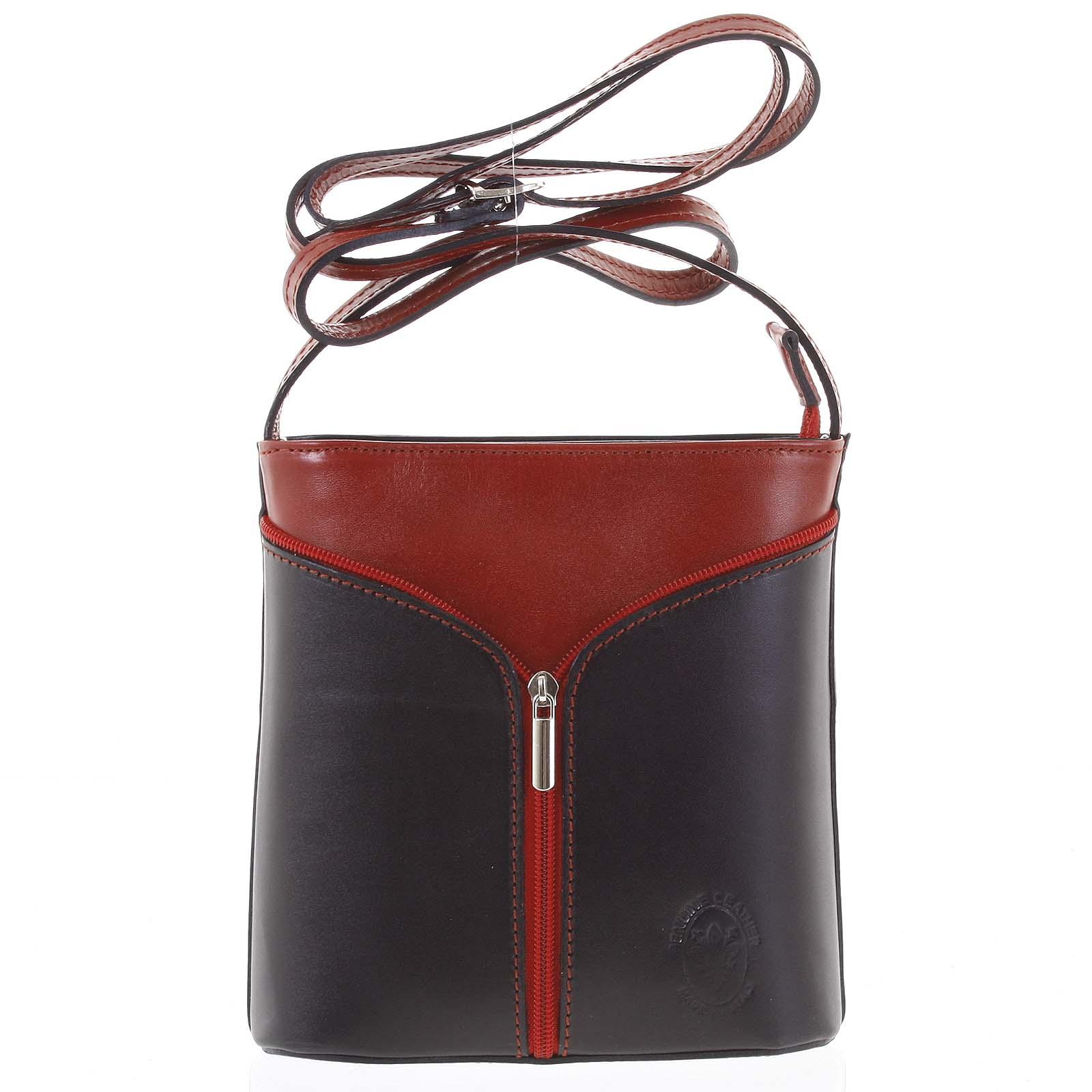 Dámská kožená crossbody kabelka černo červená - ItalY Hallie Dark