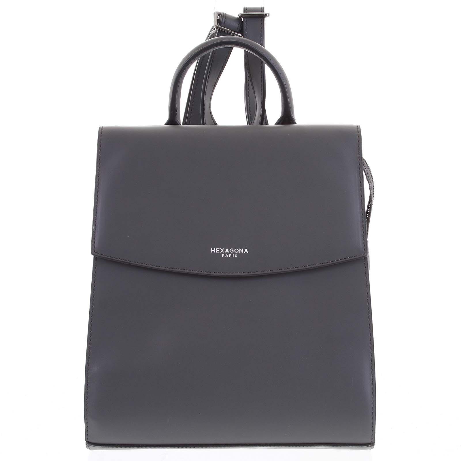 Dámský pevný moderní kožený batoh tmavě šedý - Hexagona Zoelane