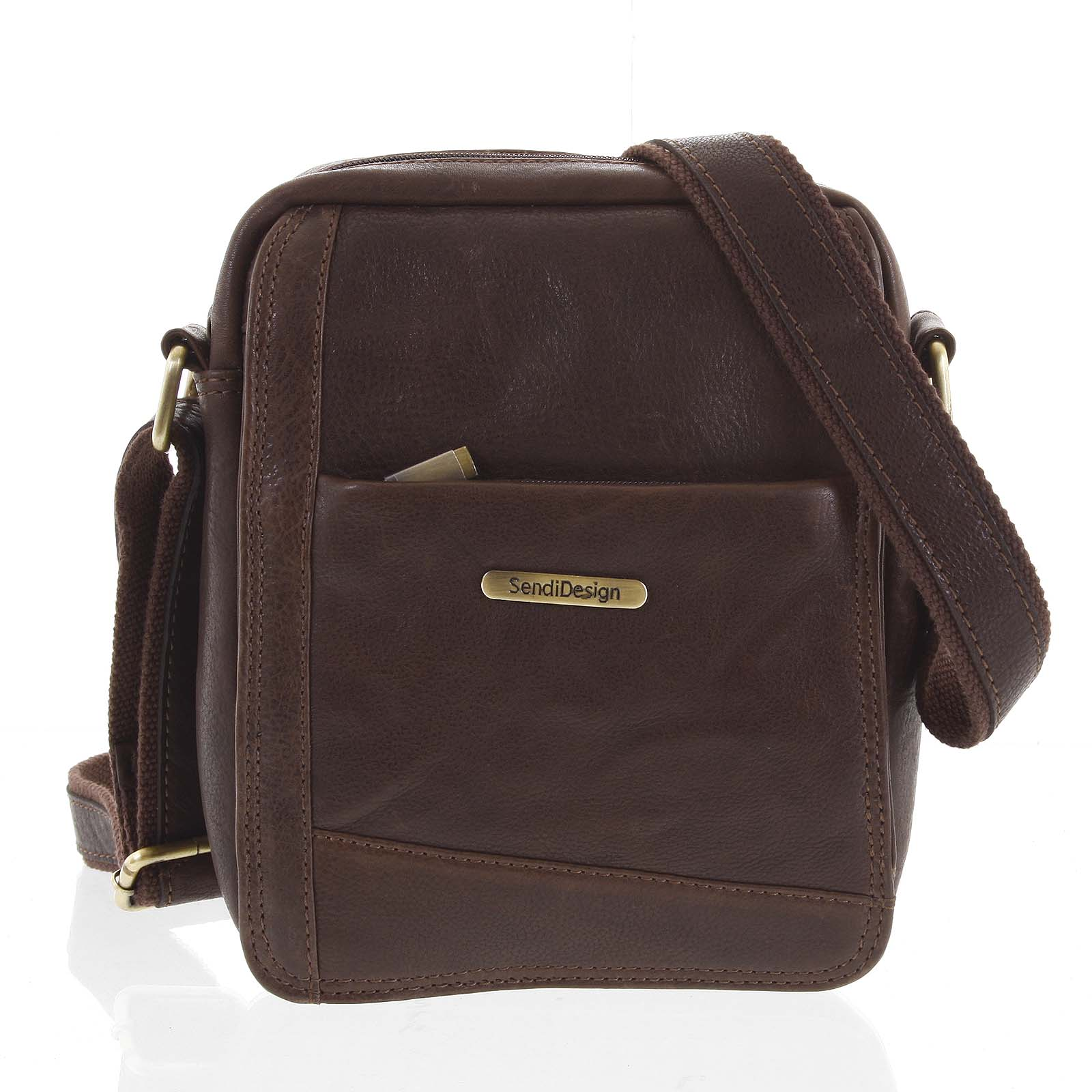 Pánská kožená taška na doklady hnědá - SendiDesign Eser