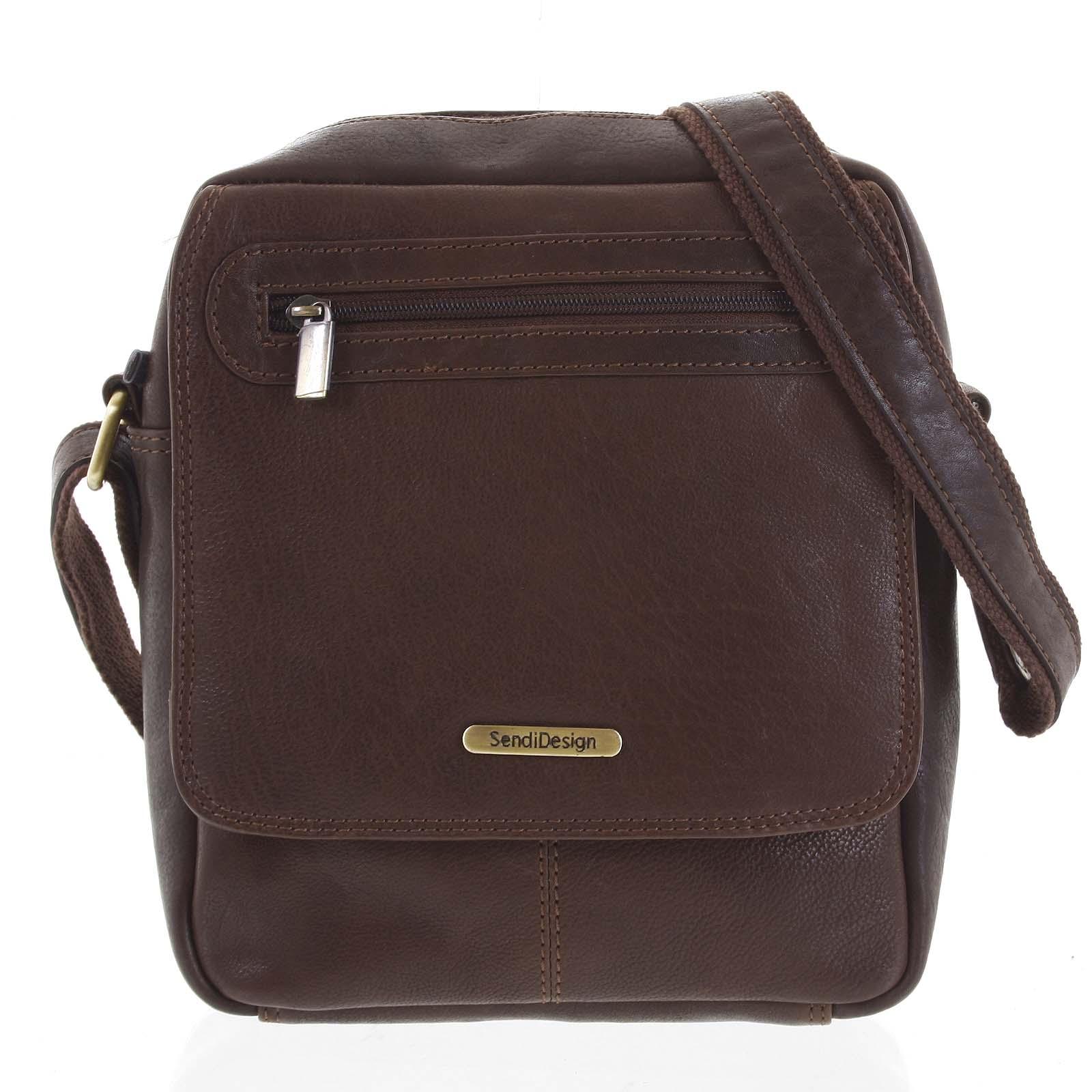 Kožená pánská taška přes rameno hnědá - SendiDesign Edmar