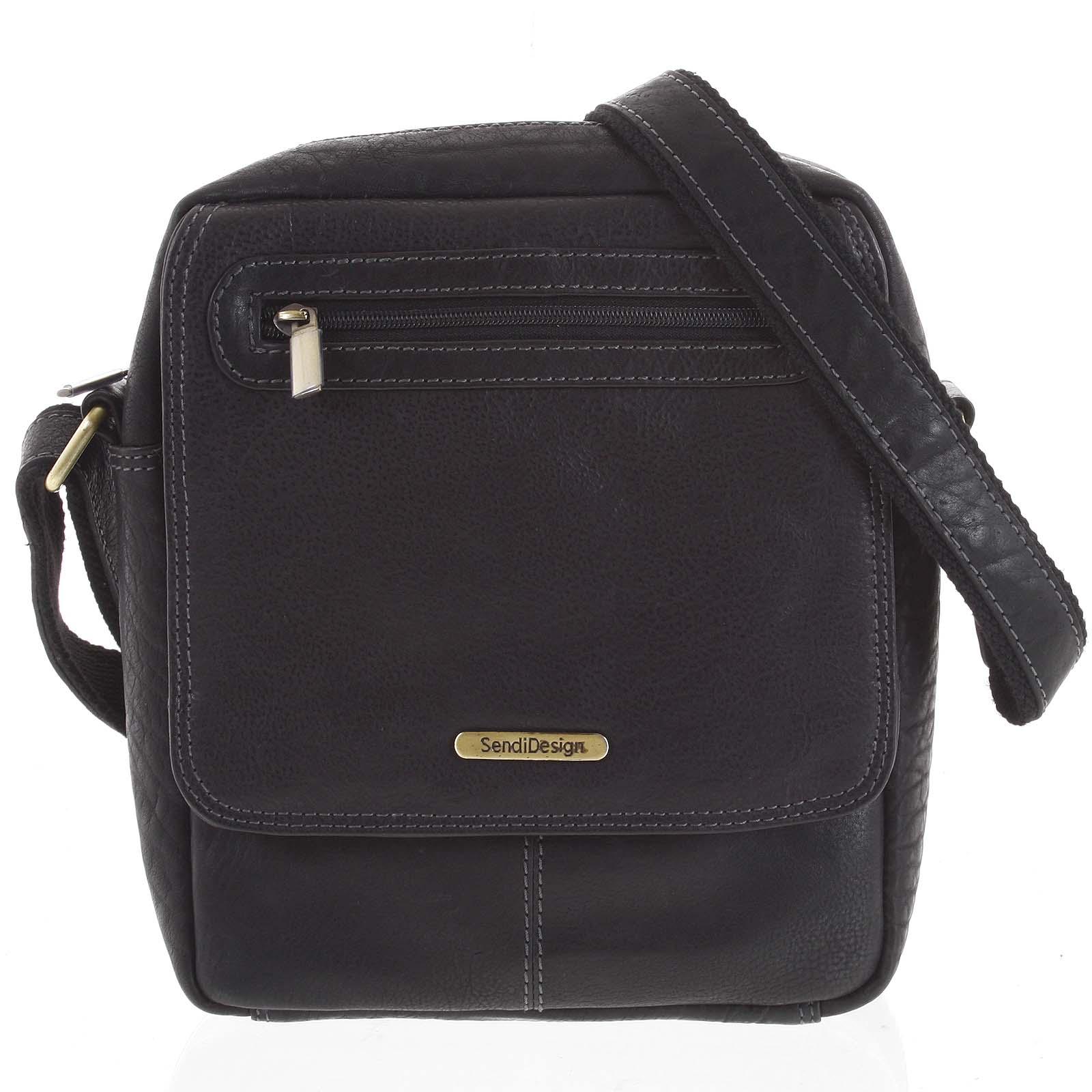 Kožená pánská taška přes rameno černá - SendiDesign Edmar