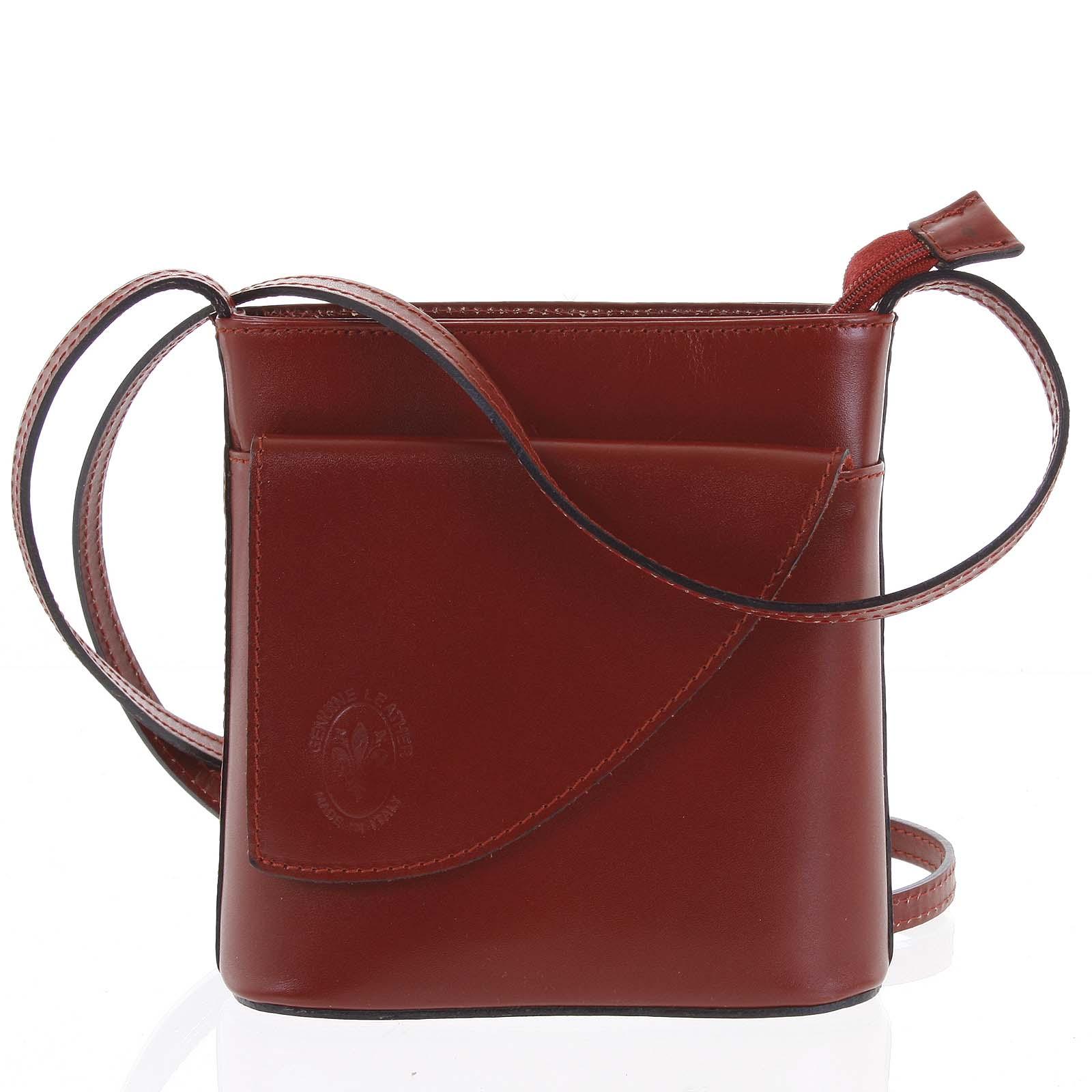 Dámská kožená crossbody kabelka červená - ItalY Cora Dark