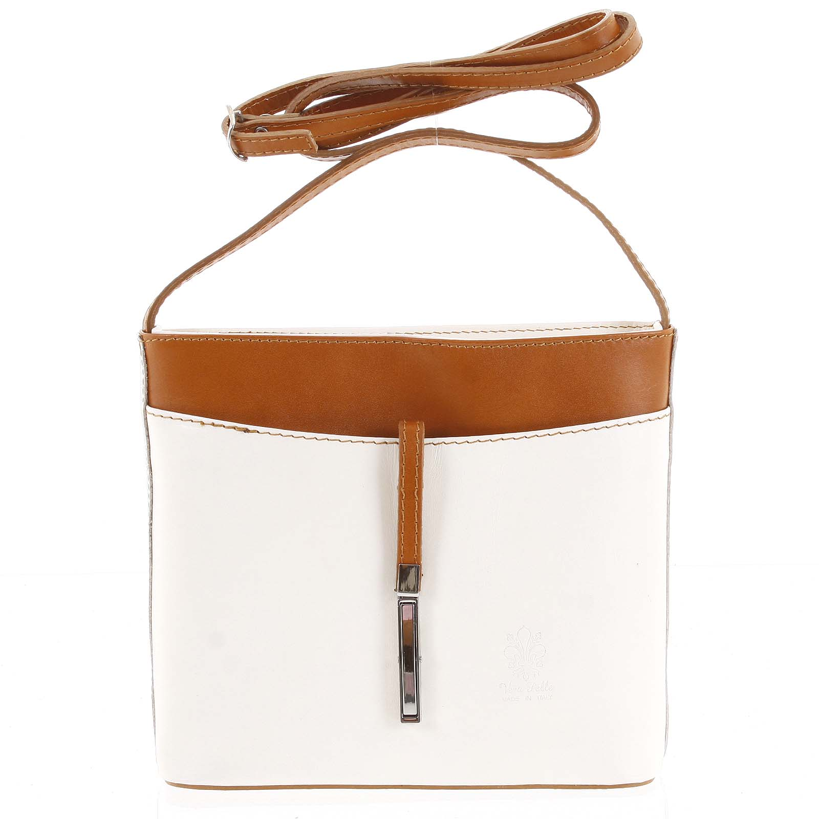 Dámská kožená crossbody kabelka béžovo hnědá - ItalY Aneta