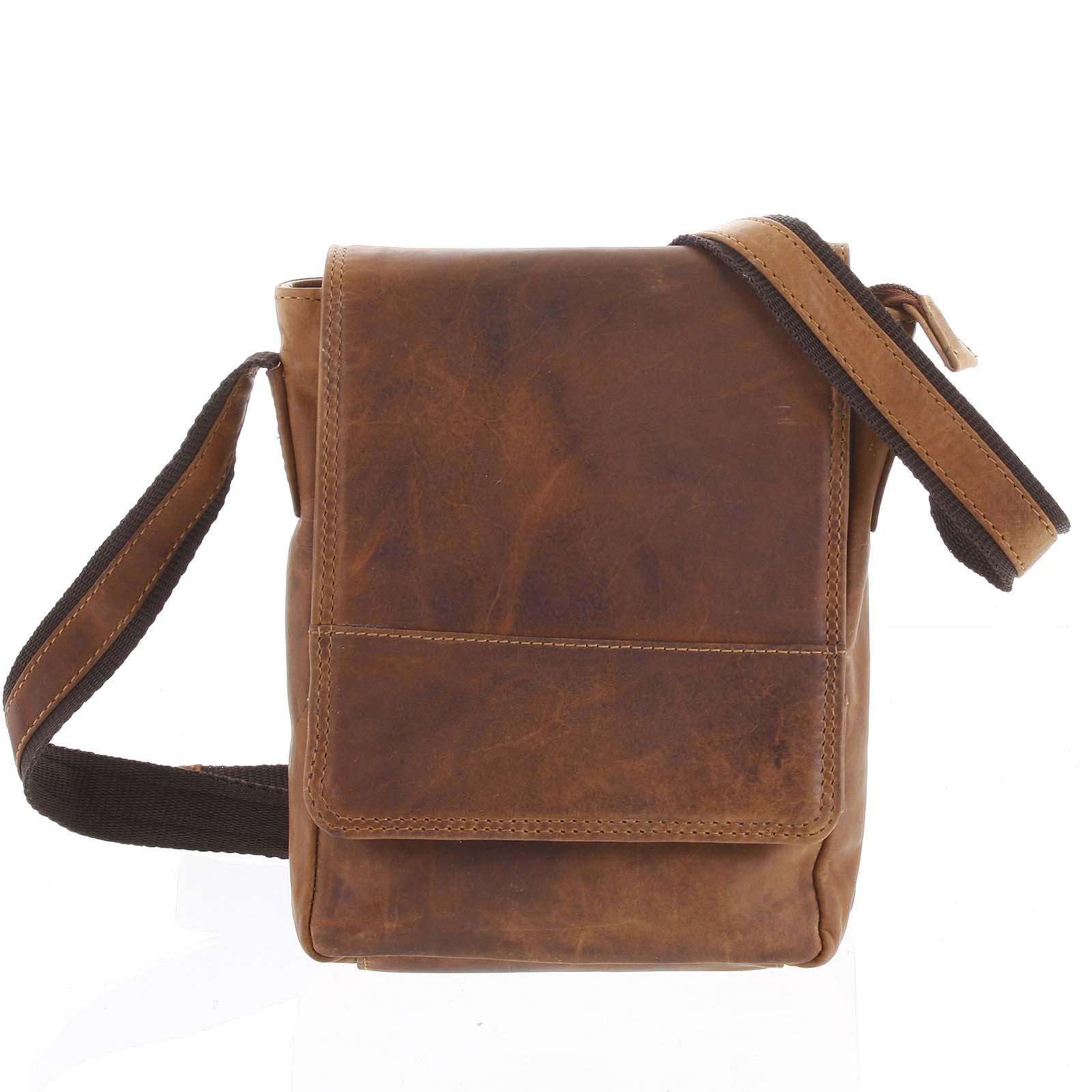 Kožená pánská crossbody taška na doklady světle hnědá 0213