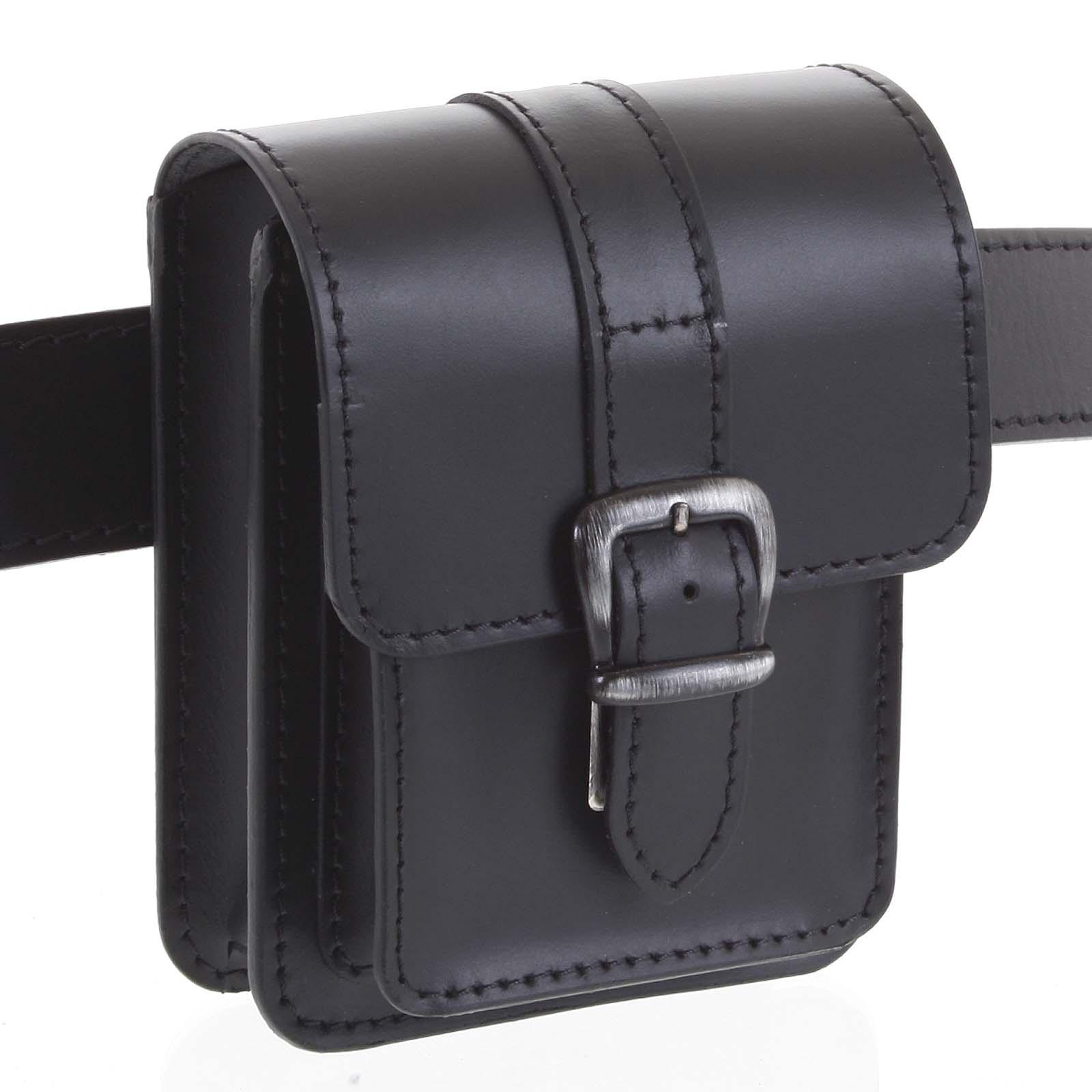 Pánská kožená kapsa na opasek černá - Kabea Kisi