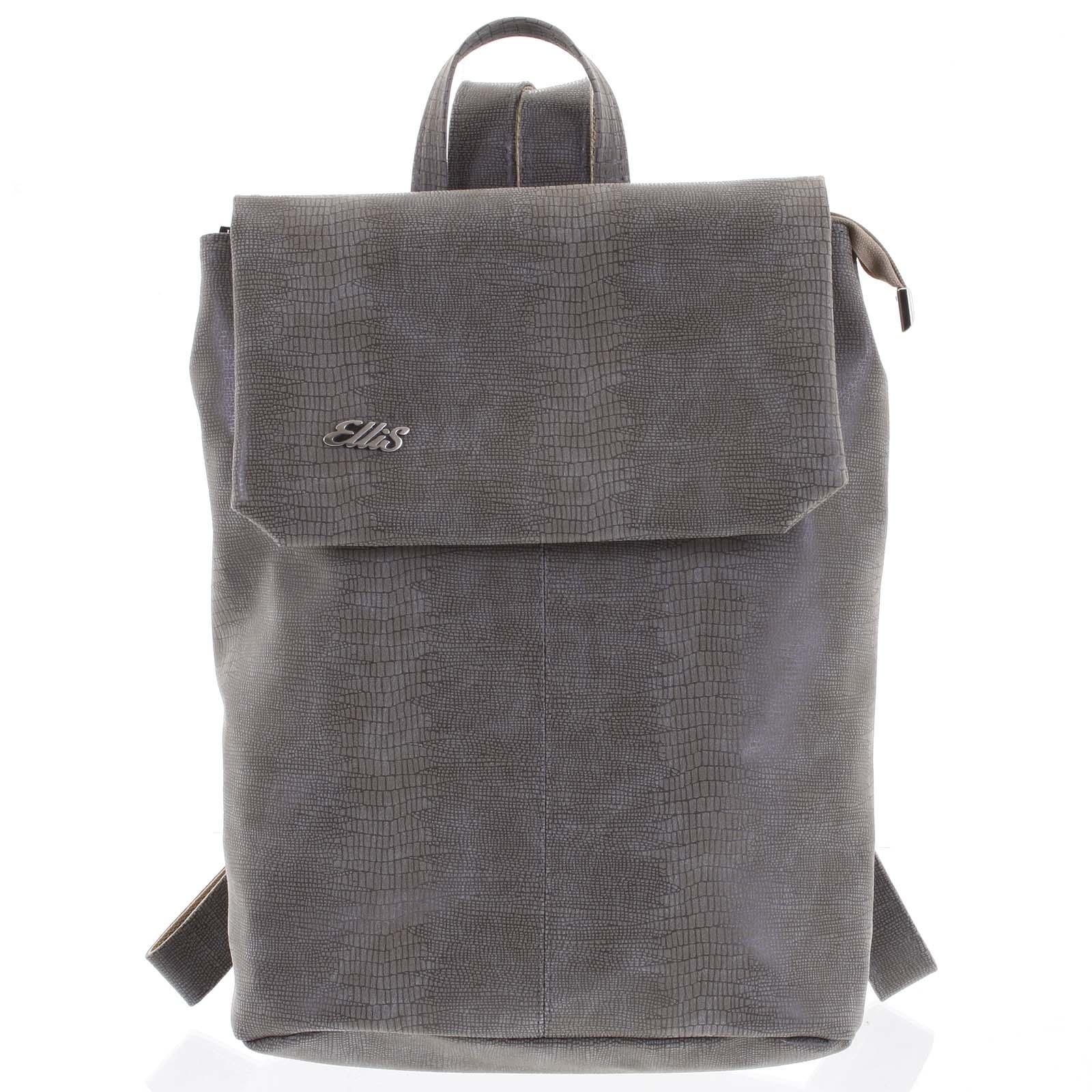 Větší měkký dámský moderní taupe batoh - Ellis Elizabeth