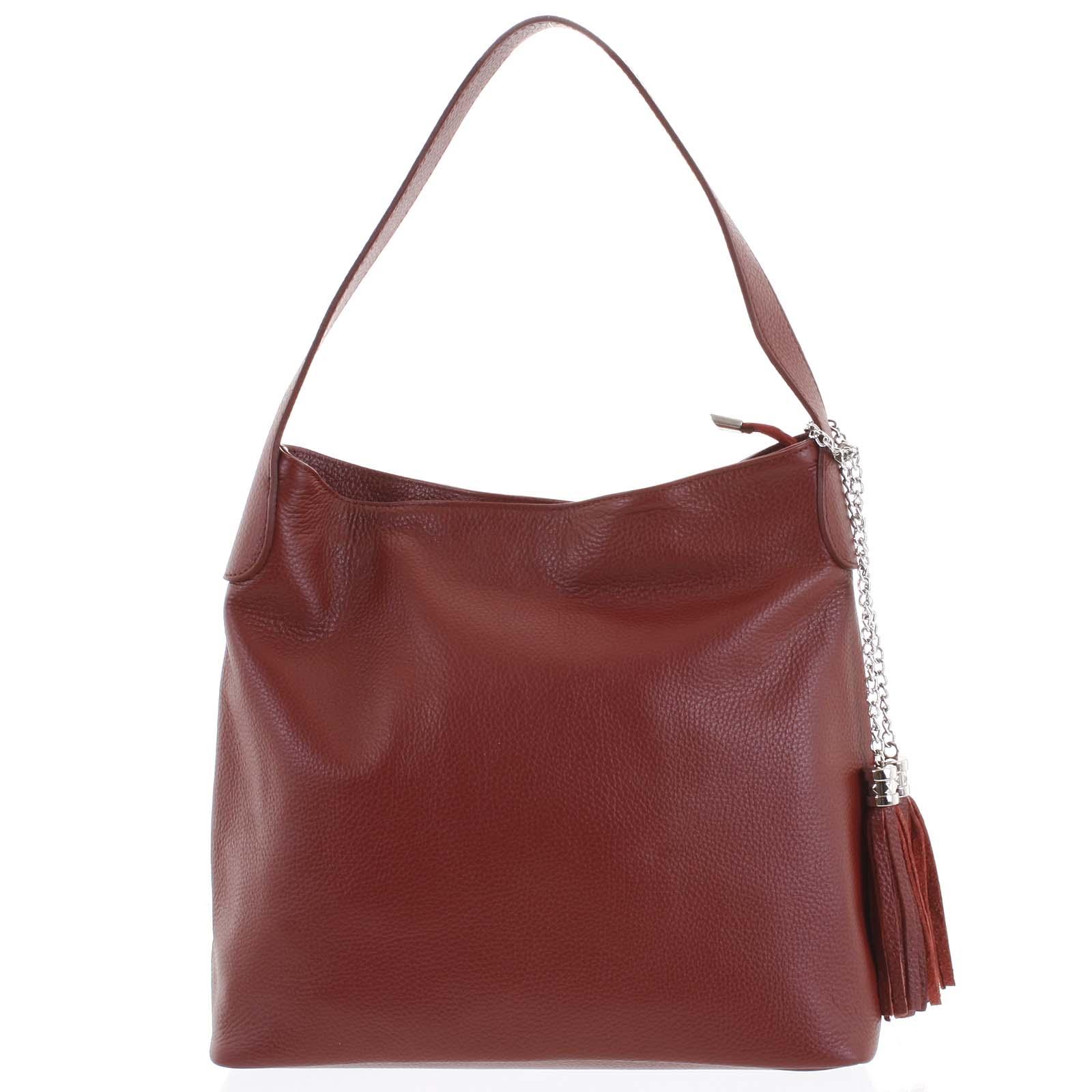 Módní kožená kabelka přes rameno bordó - ItalY Georgine