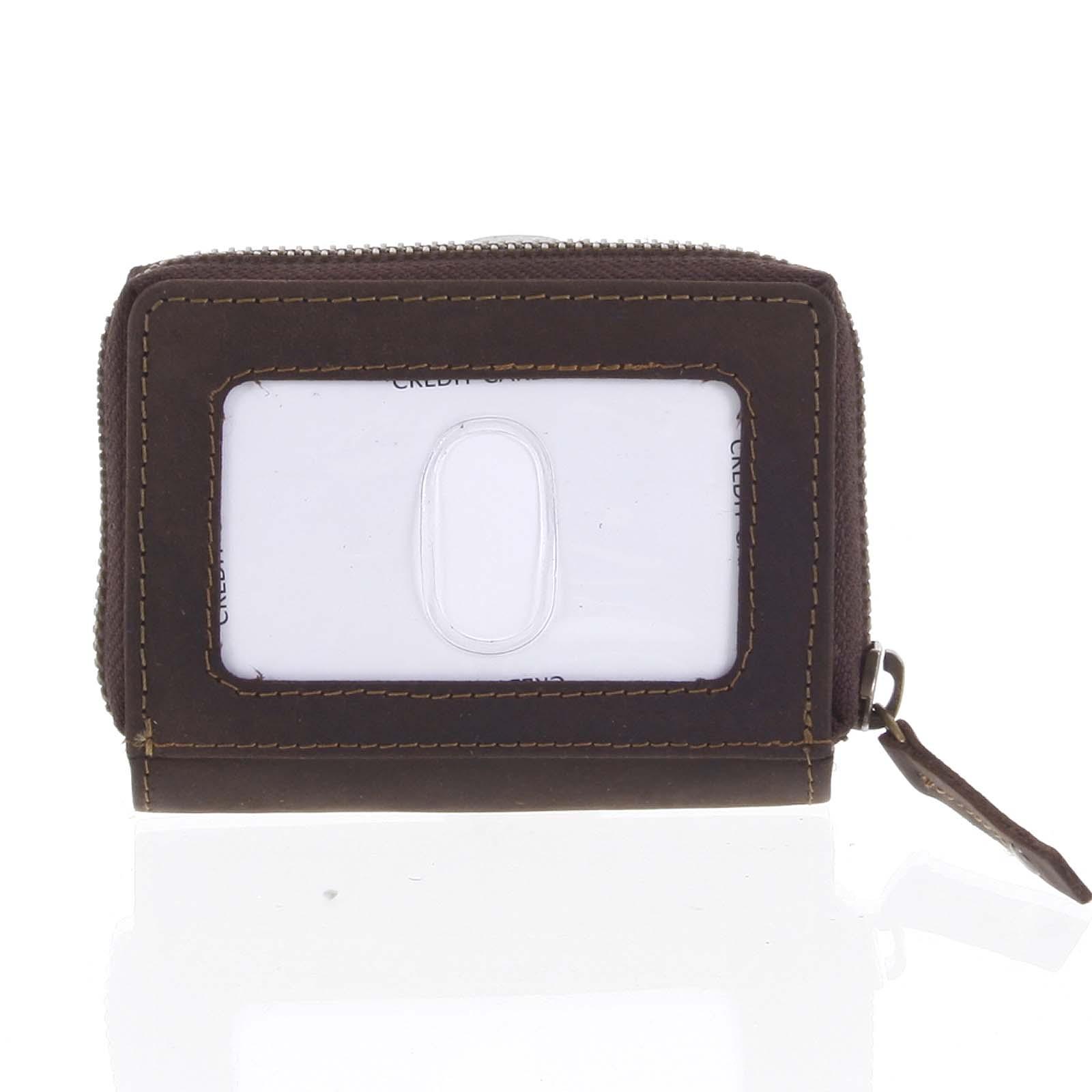 Kožená peněženka tmavě hnědá broušená - Tomas Omcane