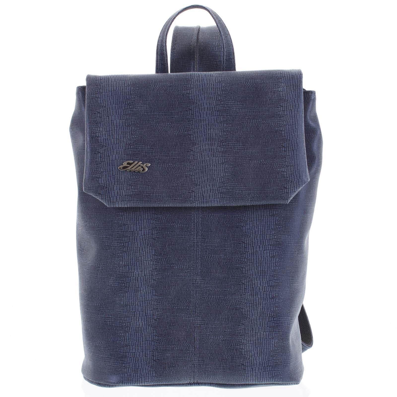 Větší měkký dámský moderní modrý batoh - Ellis Elizabeth