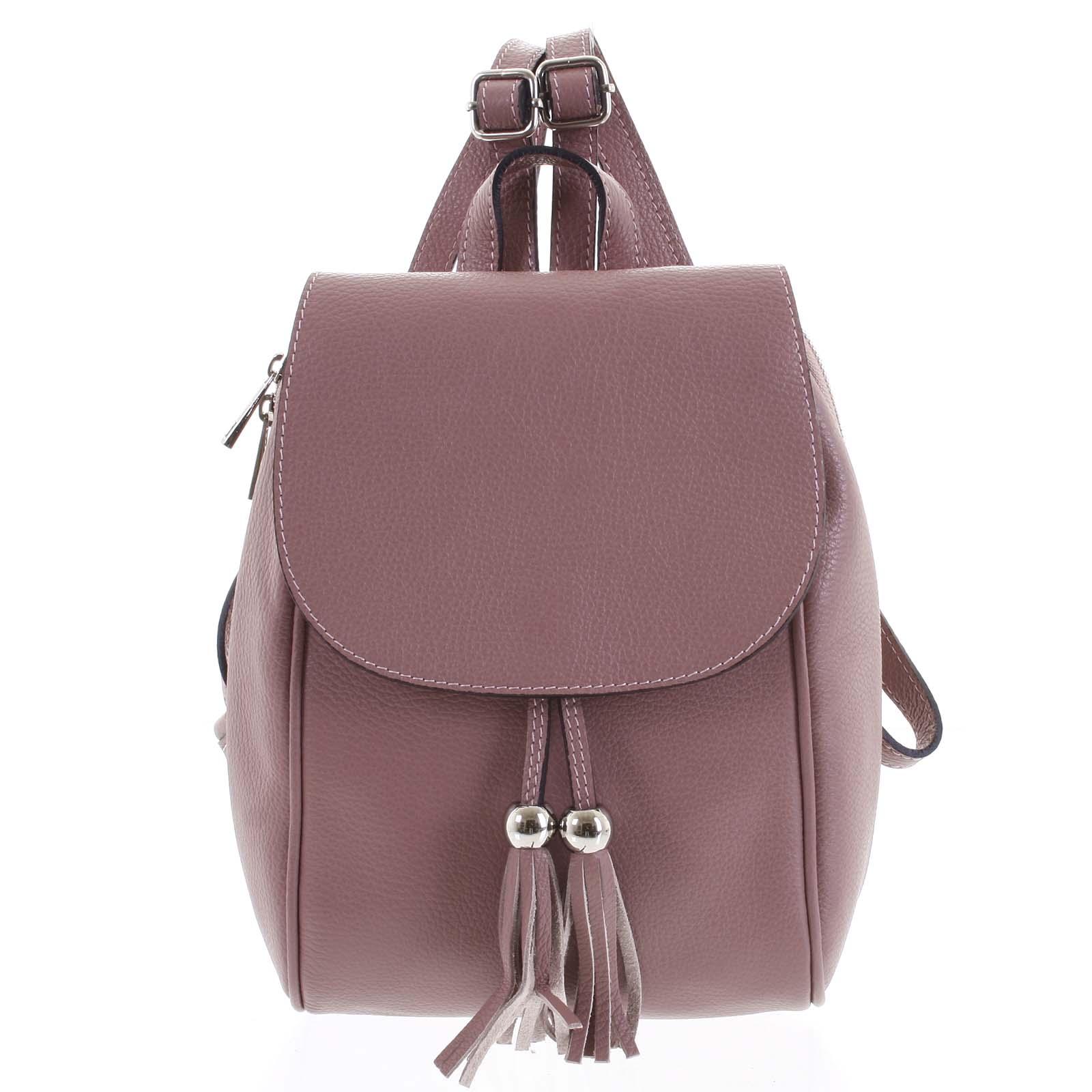 Dámský kožený batůžek tmavě růžový - ItalY Joseph
