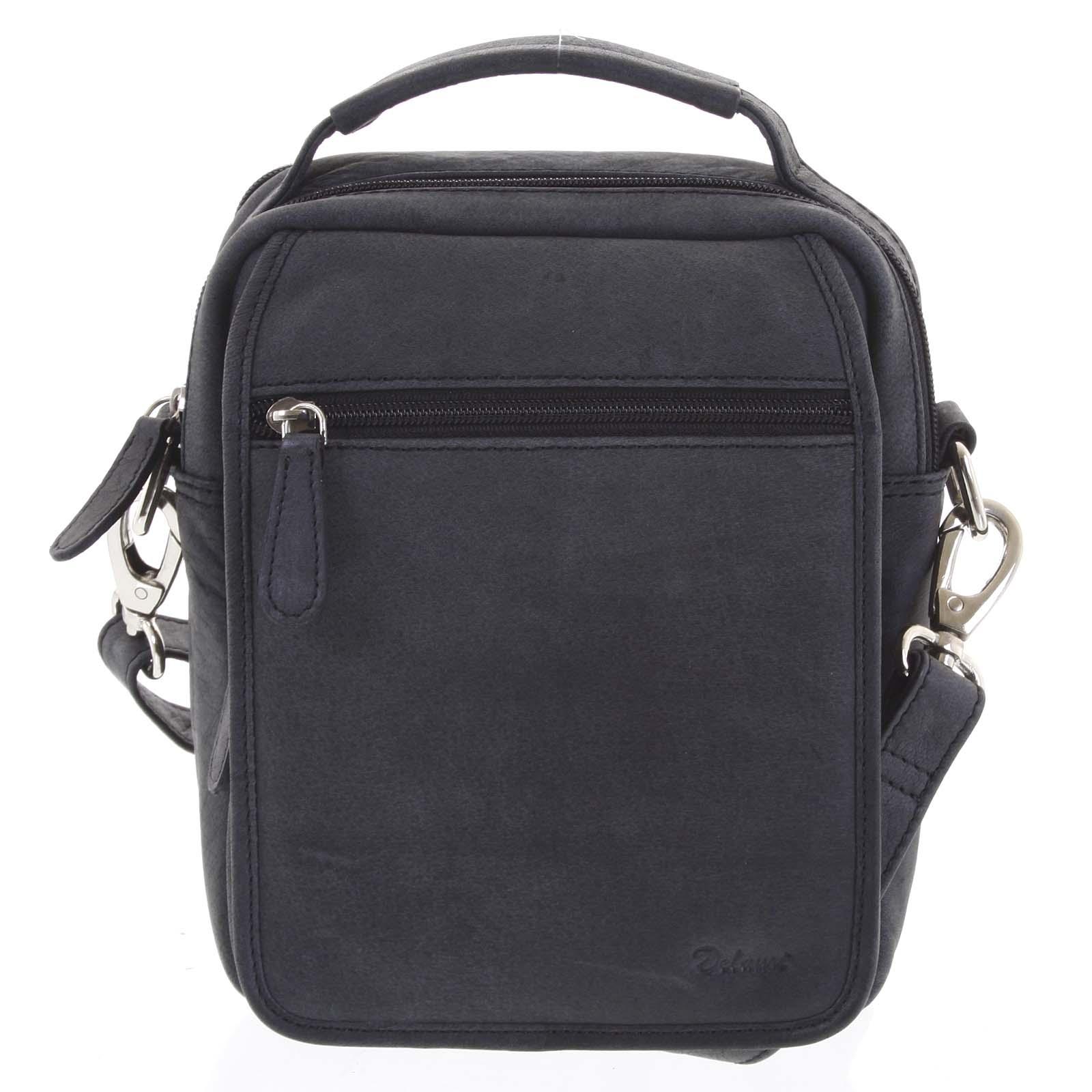 Pánská kožená taška přes rameno černá - Delami Gabo M