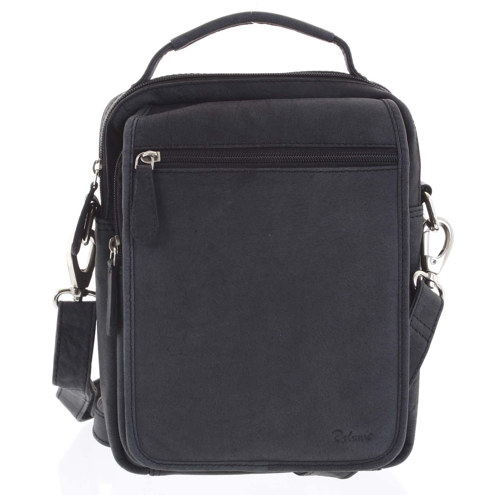 Pánská kožená taška přes rameno černá - Delami Gabo L