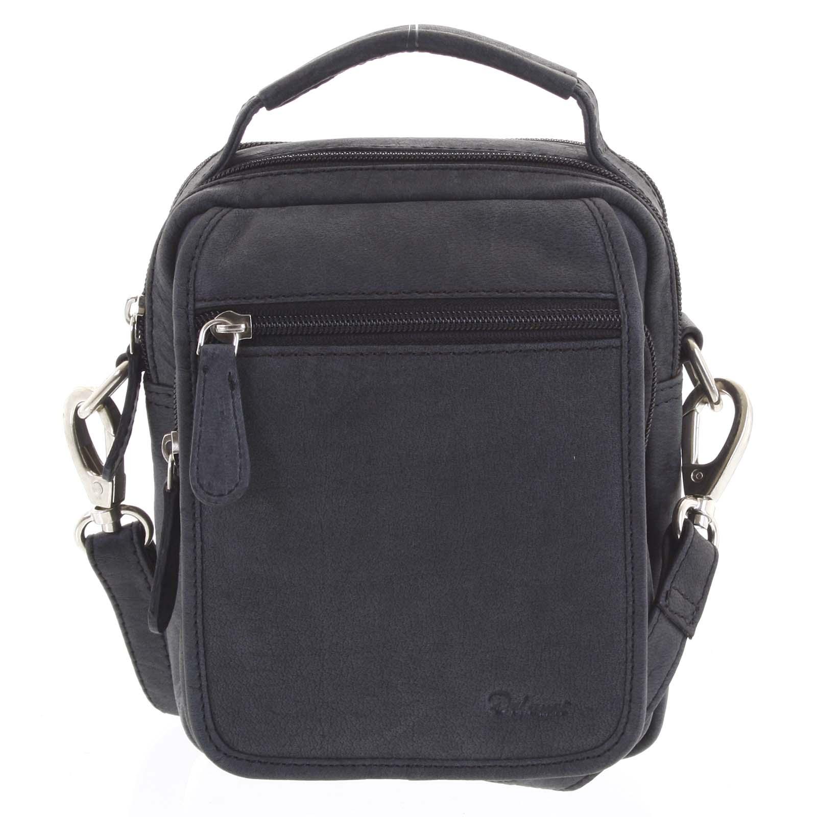 Pánská kožená taška přes rameno černá - Delami Gabo S