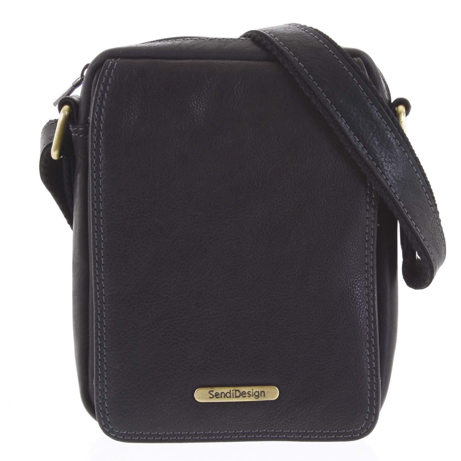 Pánská kožená taška na doklady přes rameno černá - SendiDesign Dumont New