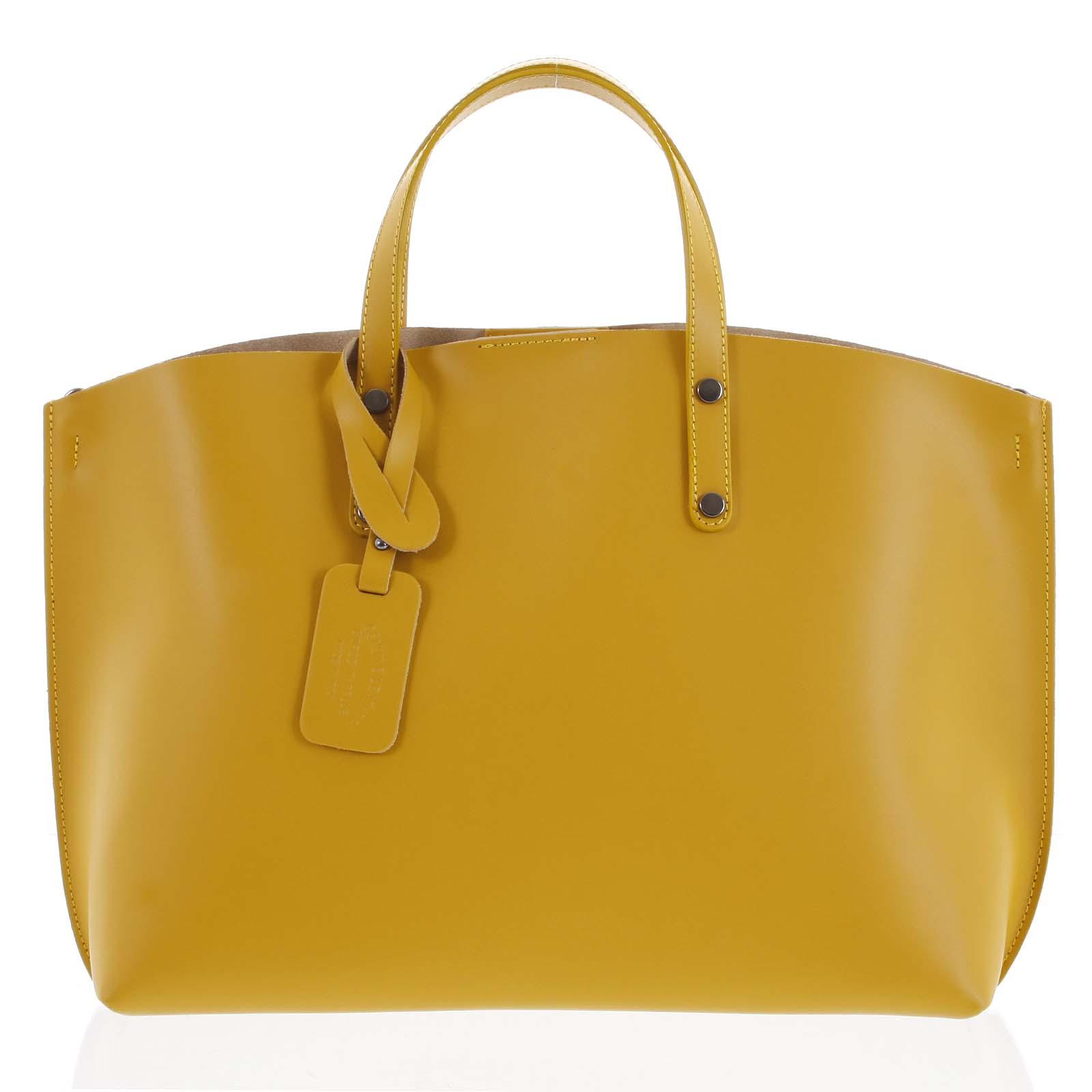 Dámská kožená kabelka hořčicová - ItalY Jordana