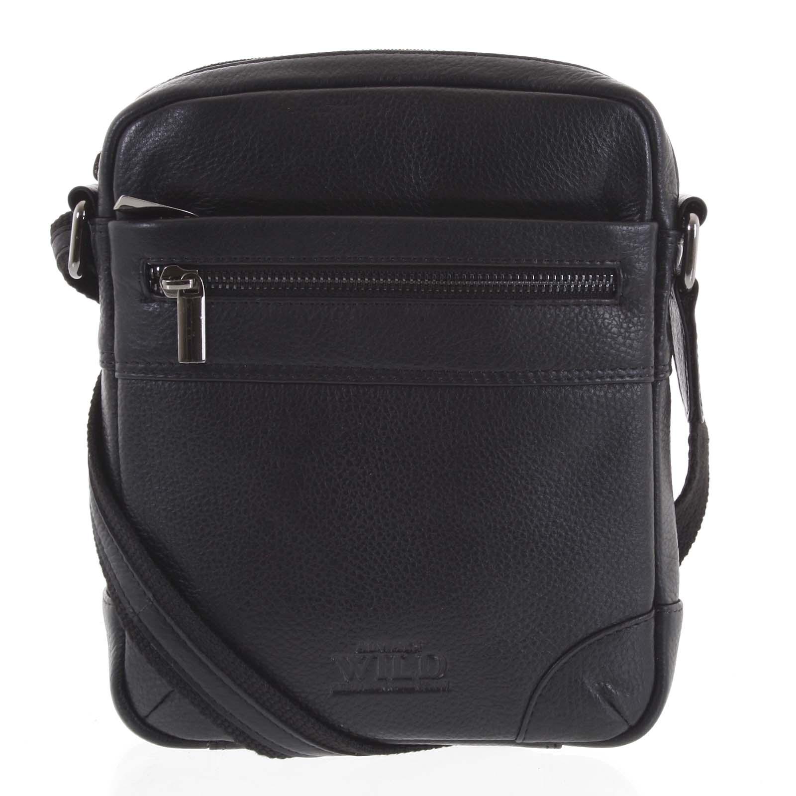 Moderní pánská kožená crossbody taška na doklady černá - WILD Anton