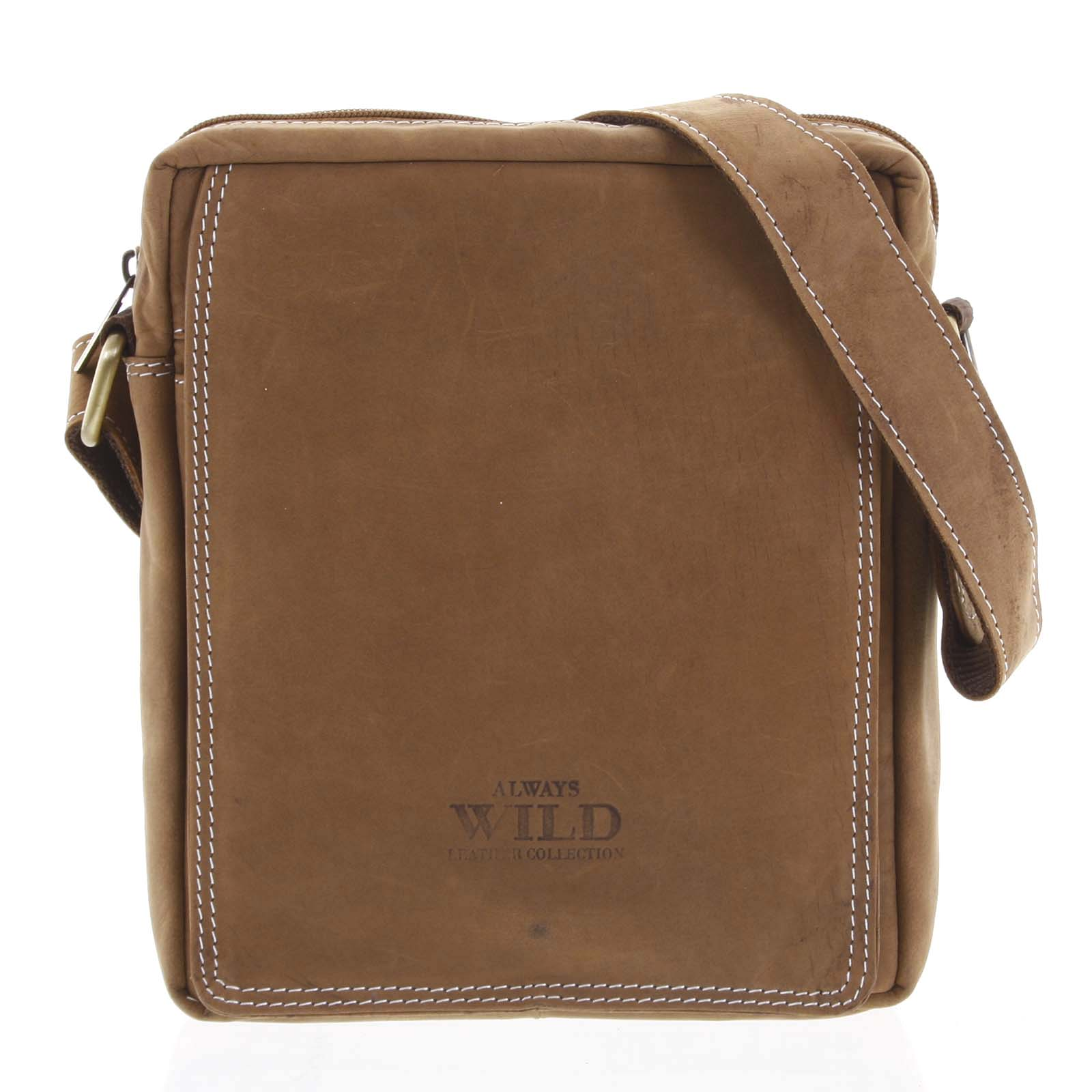 Pánská kožená crossbody taška hnědá - WILD Yander