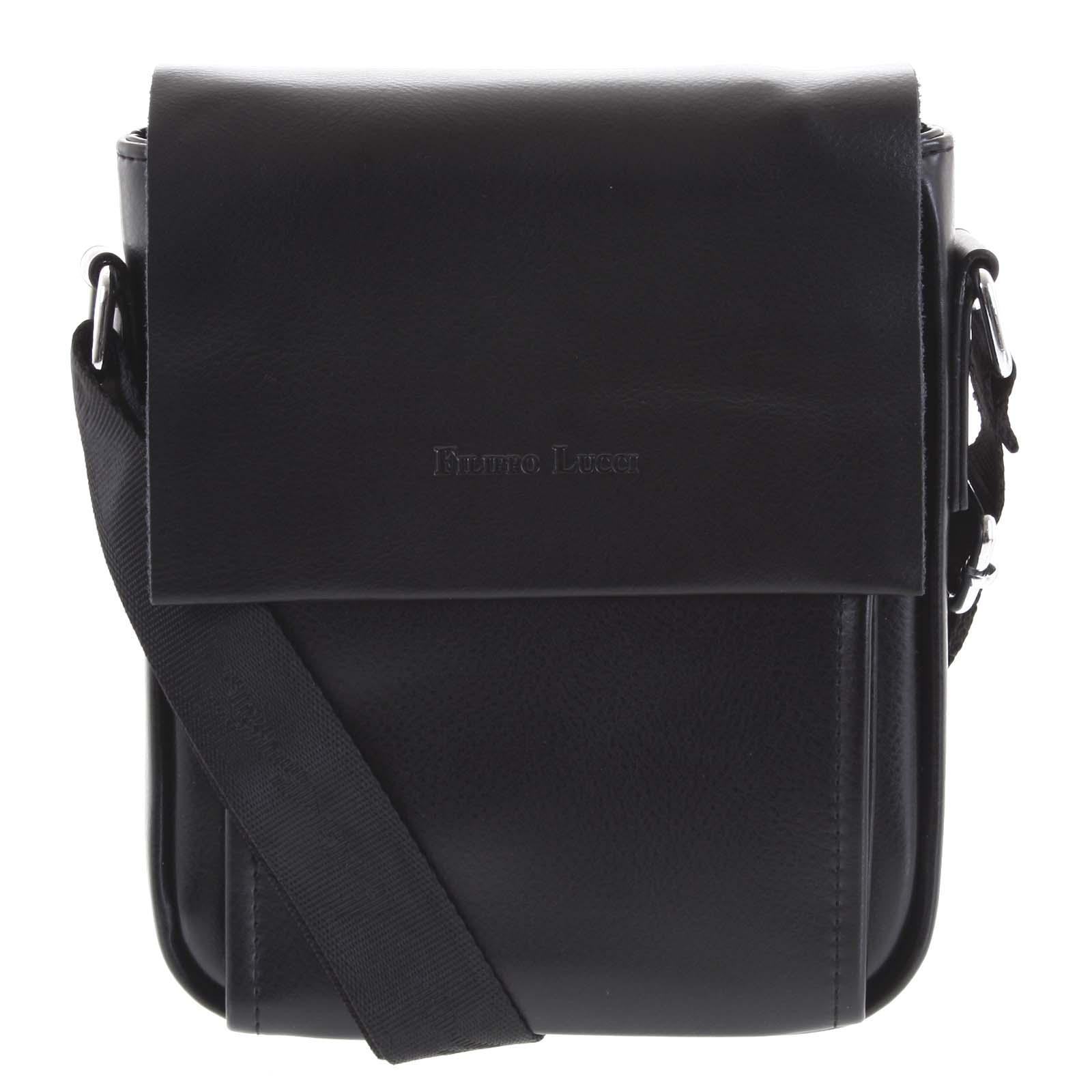 Pánská kožená crossbody taška černá - Filippo Lucci Magnett