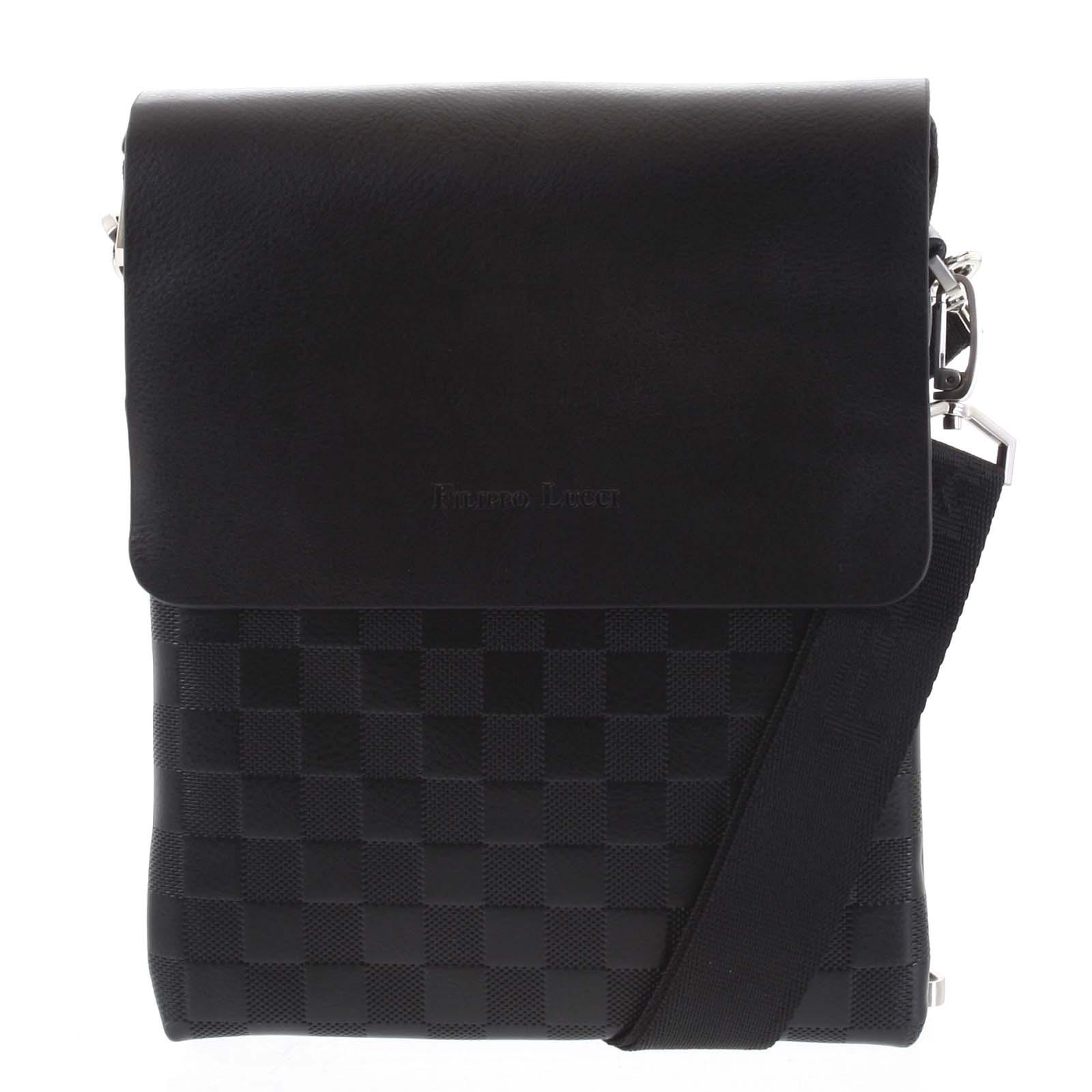 Pánská kožená taška černá - Filippo Lucci Paolo
