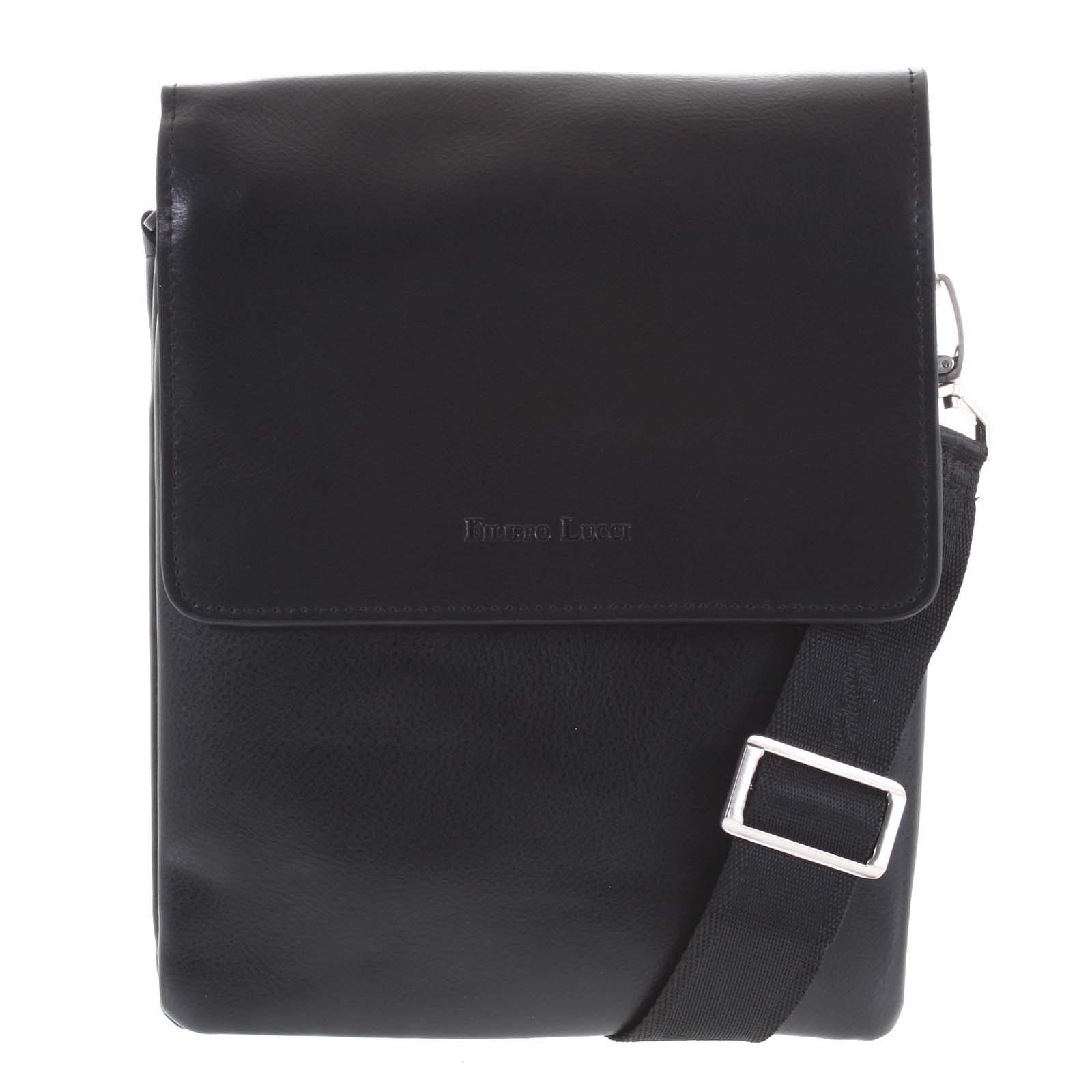 Pánská kožená taška černá - Filippo Lucci Jeanni